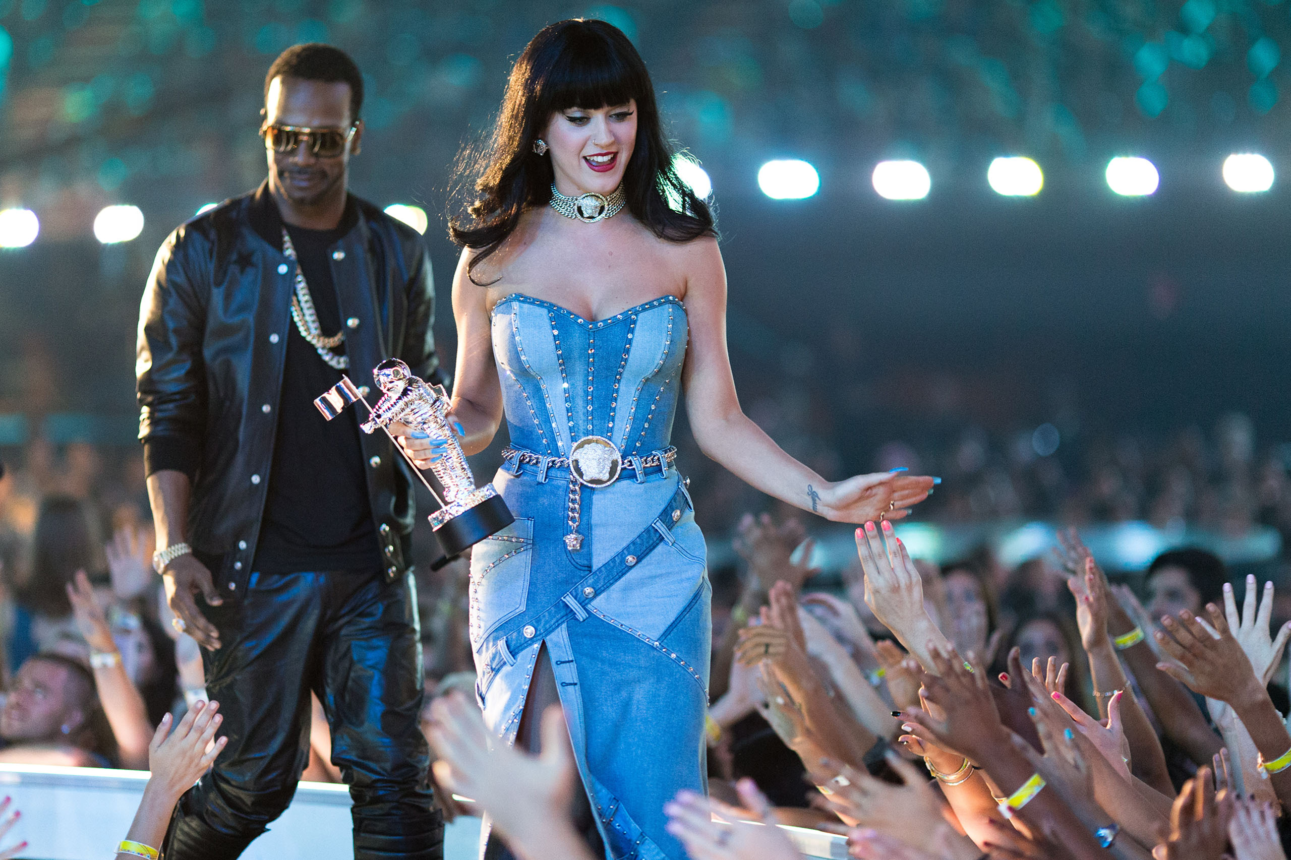 Katy Perry speaks onstage during the 2014 MTV Video Music Awards at The Forum in Inglewood, Calif., on Aug. 24, 2014.