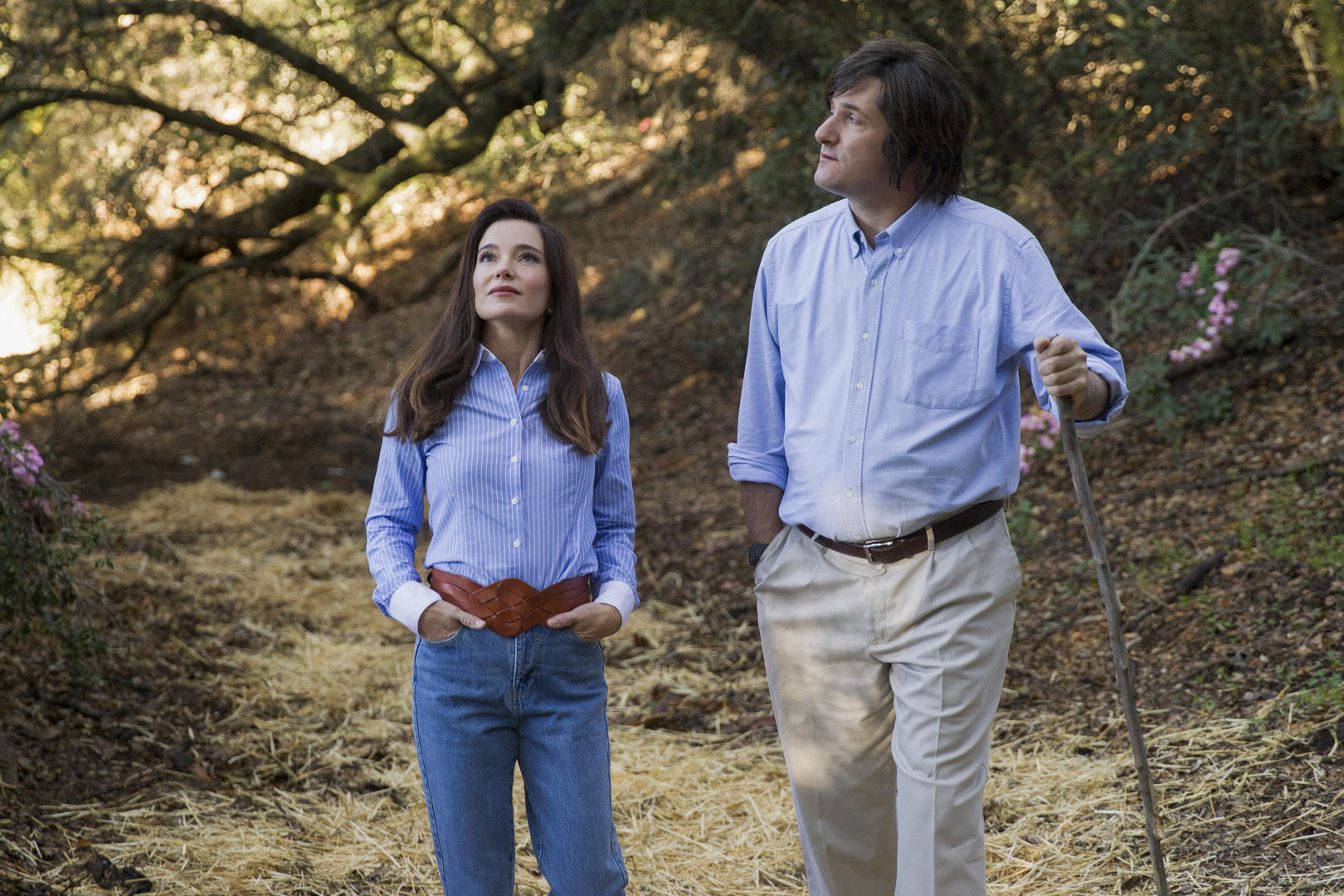 Katie (Marguerite Moreau) and Coop (Michael Showalter) take a walk down memory lane in Wet Hot American Summer: Ten Years Later.