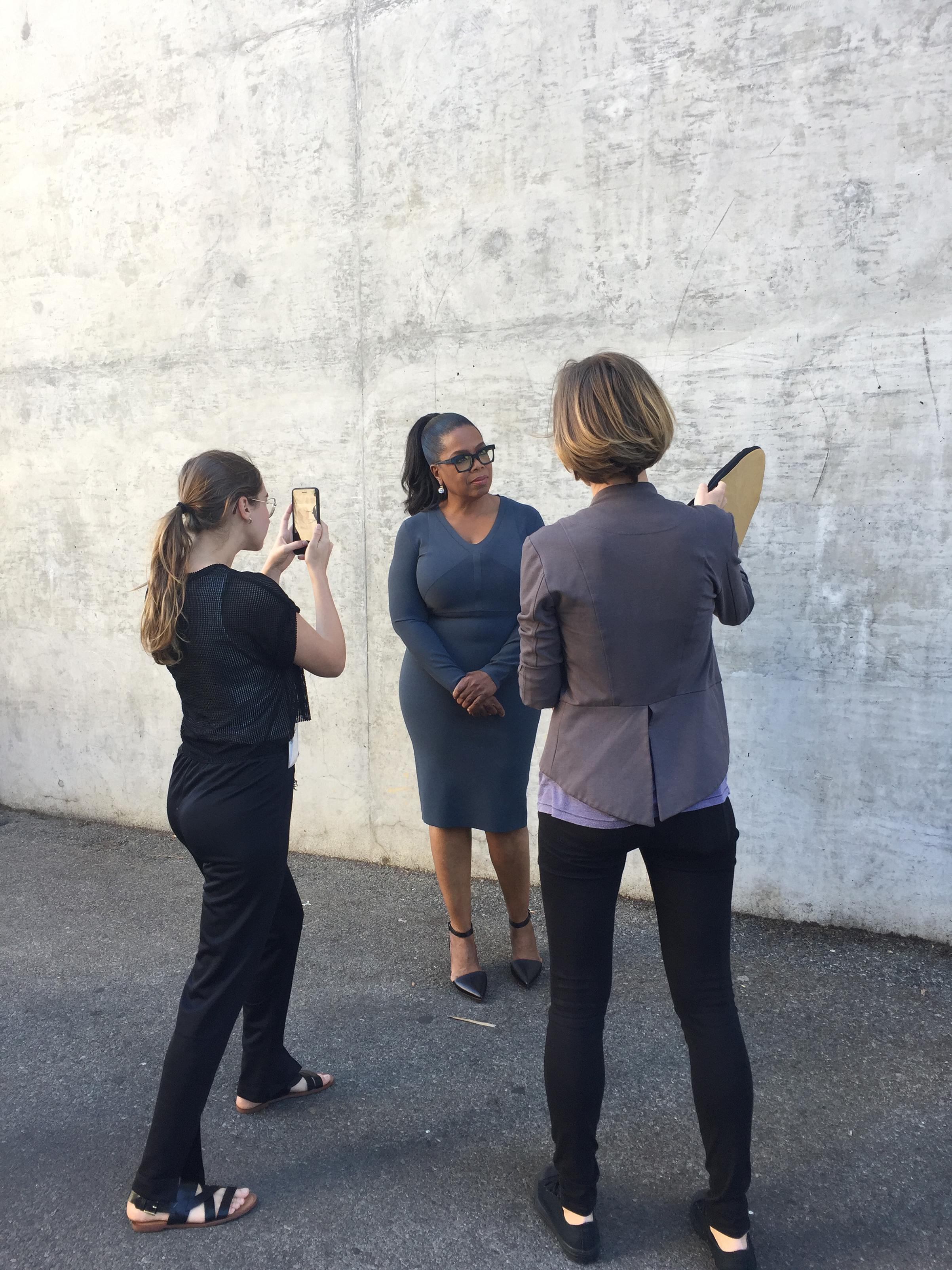 Luisa Dörr, left, shoots Oprah Winfrey on her iPhone in Los Angeles, Oct. 2016.