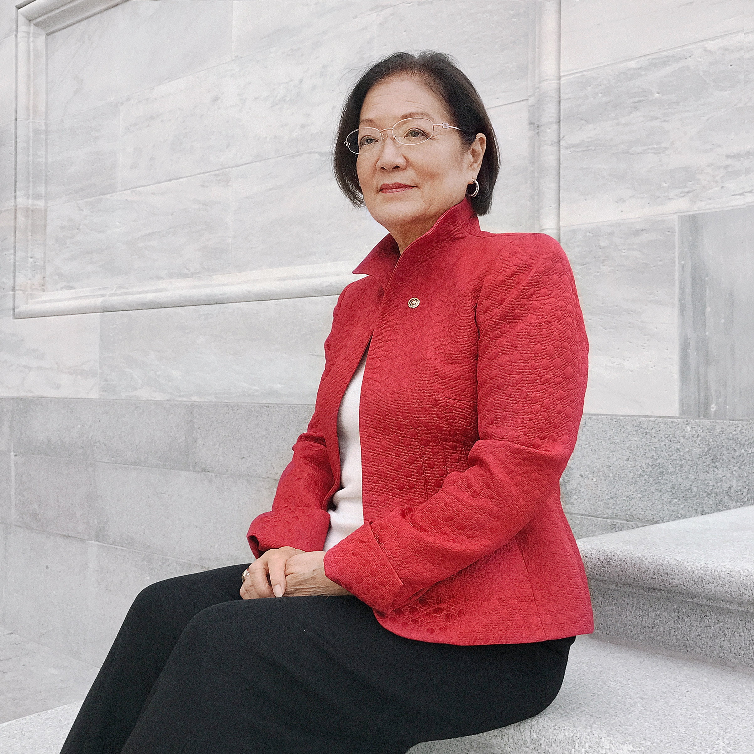 Portrait of Senator Mazie Hirono, photographed on the steps of The Capitol, Washington, D.C., October 6, 2016.