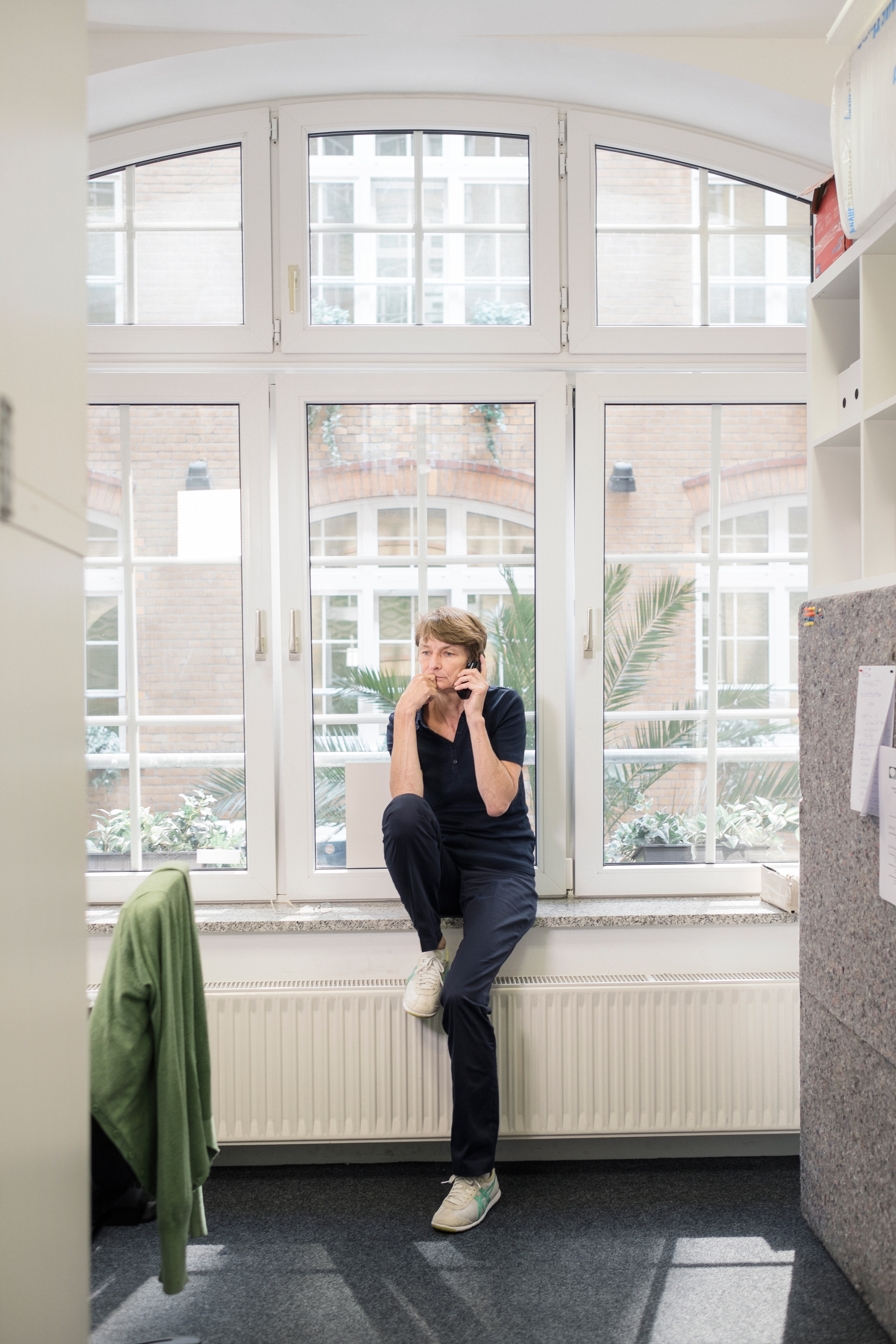 Jutta Kramm, head of the Correctiv factchecking team, works at the office in Berlin on Aug. 10.
