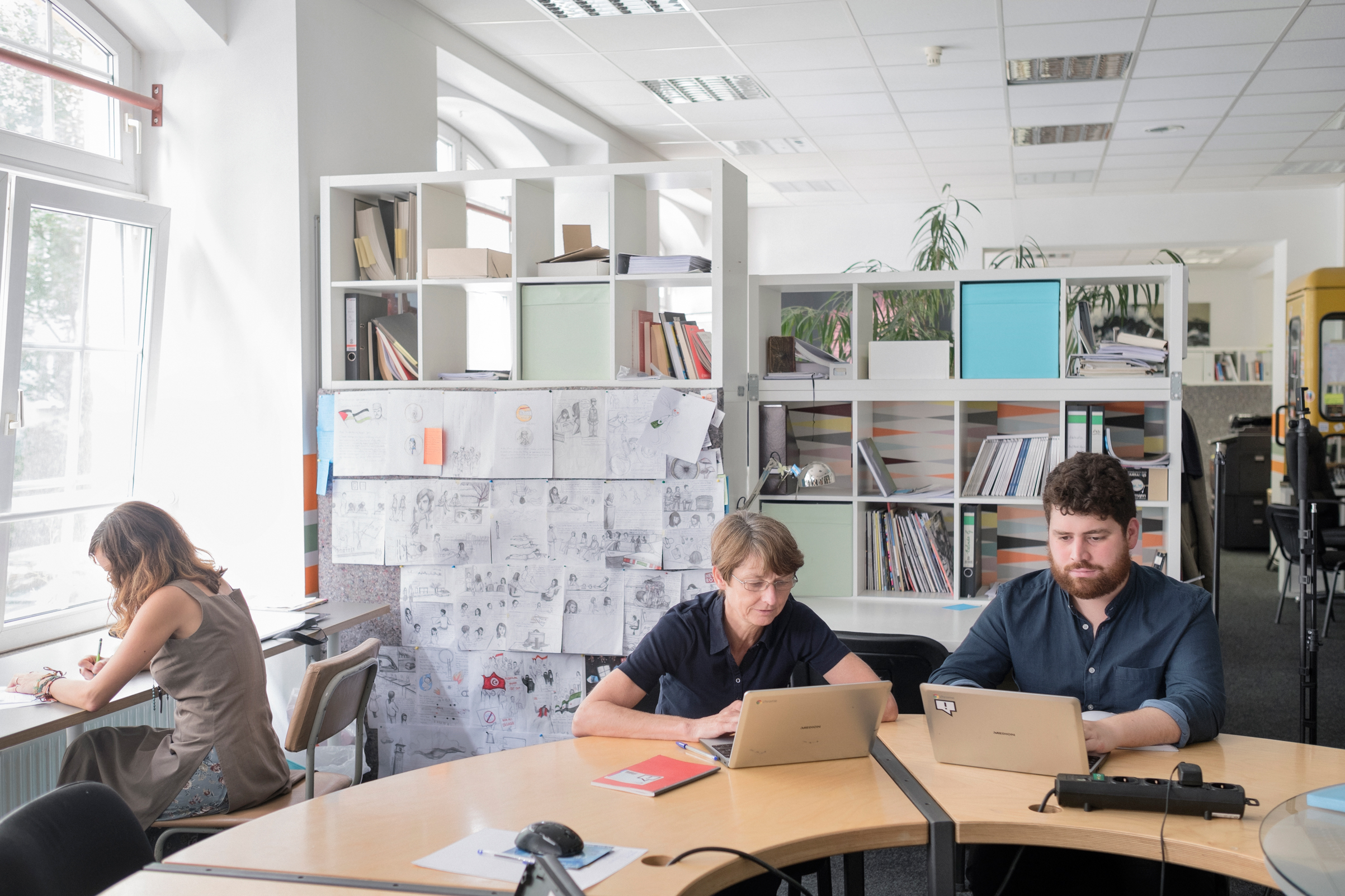 Jutta Kramm and Jacques Pezet, members of the Correctiv factchecking team, at their office in Berlin on Aug. 10.