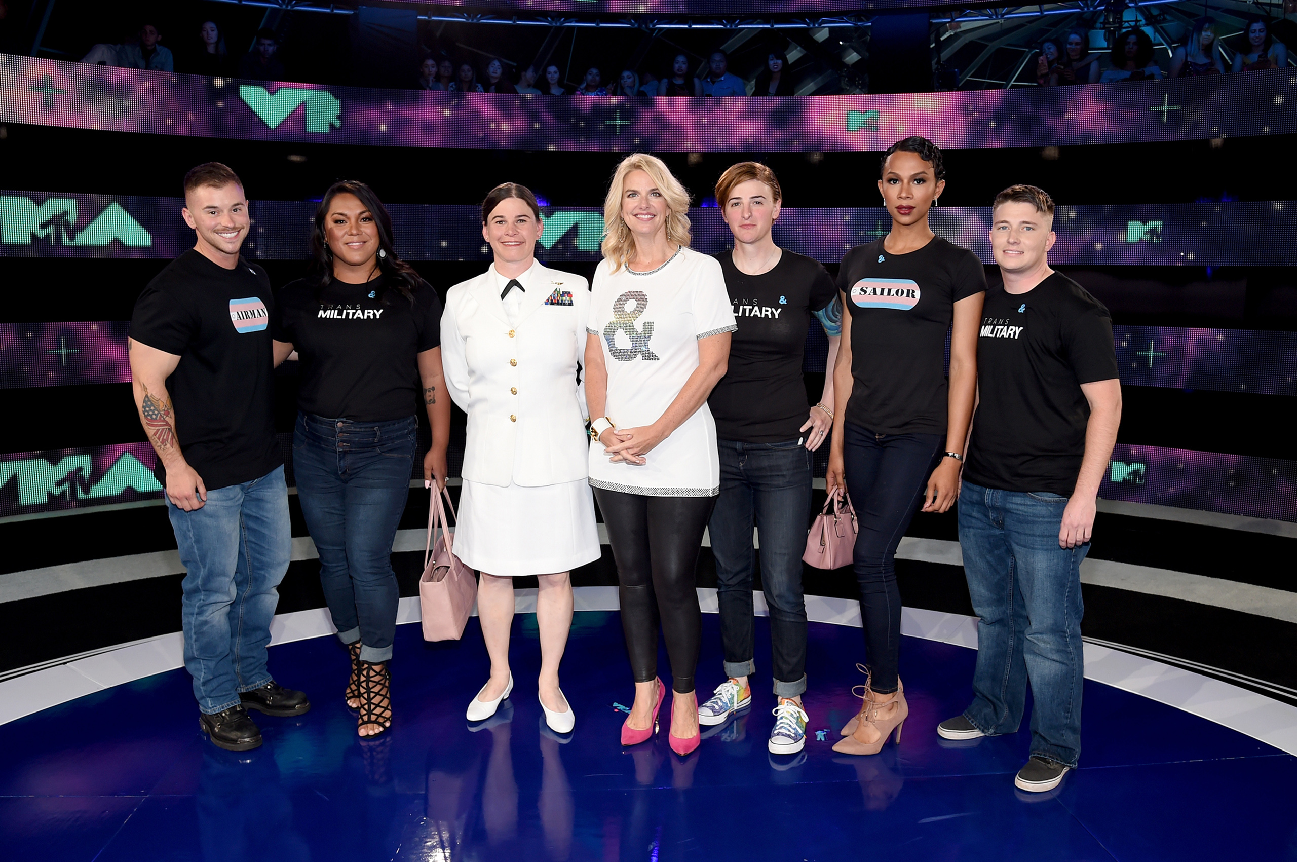 President of GLAAD Sarah Kate Ellis and transgender military members attend the 2017 MTV Video Music Awards at The Forum on Aug. 27, 2017 in Inglewood, Calif.