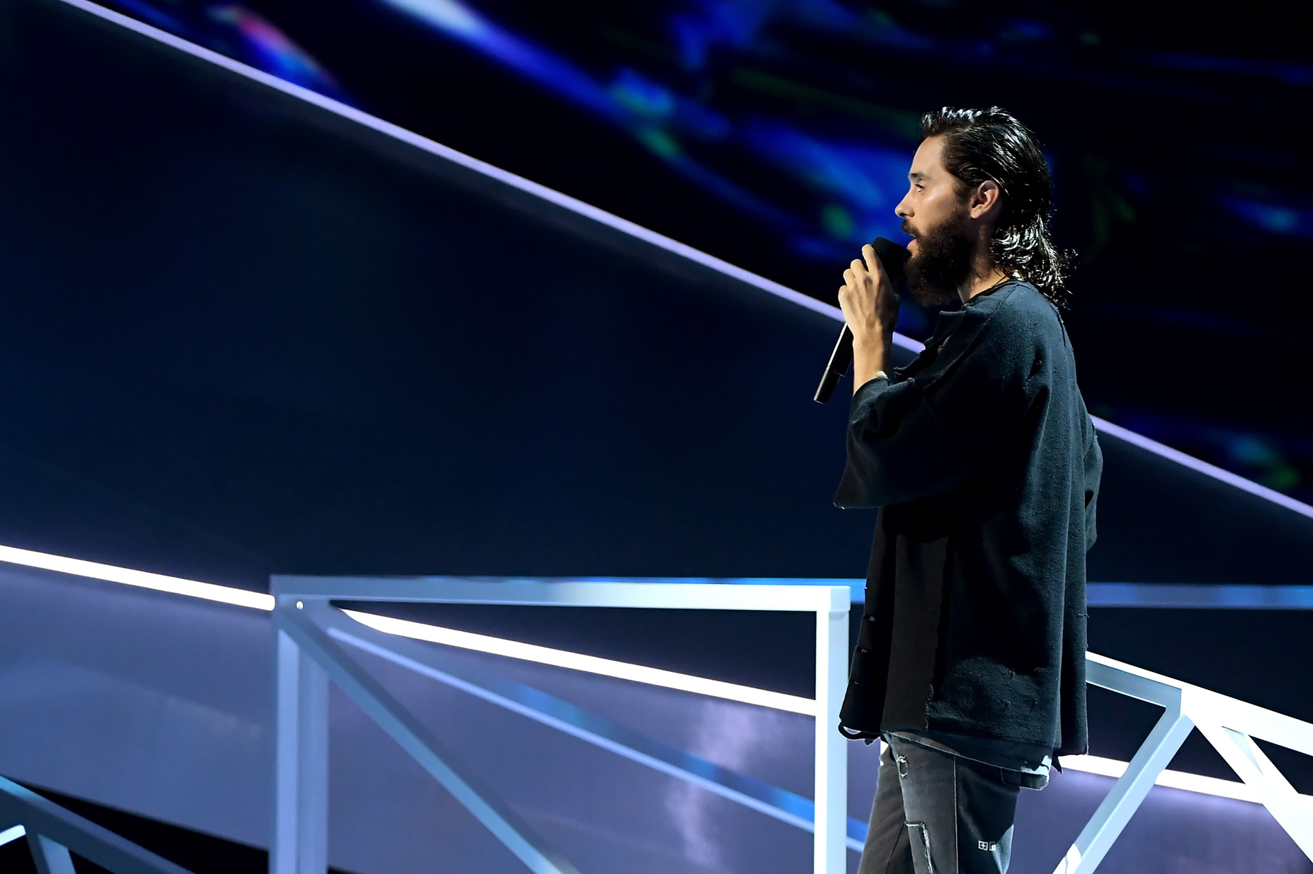Jared Leto speaks onstage during the 2017 MTV Video Music Awards at The Forum on August 27, 2017 in Inglewood, California.