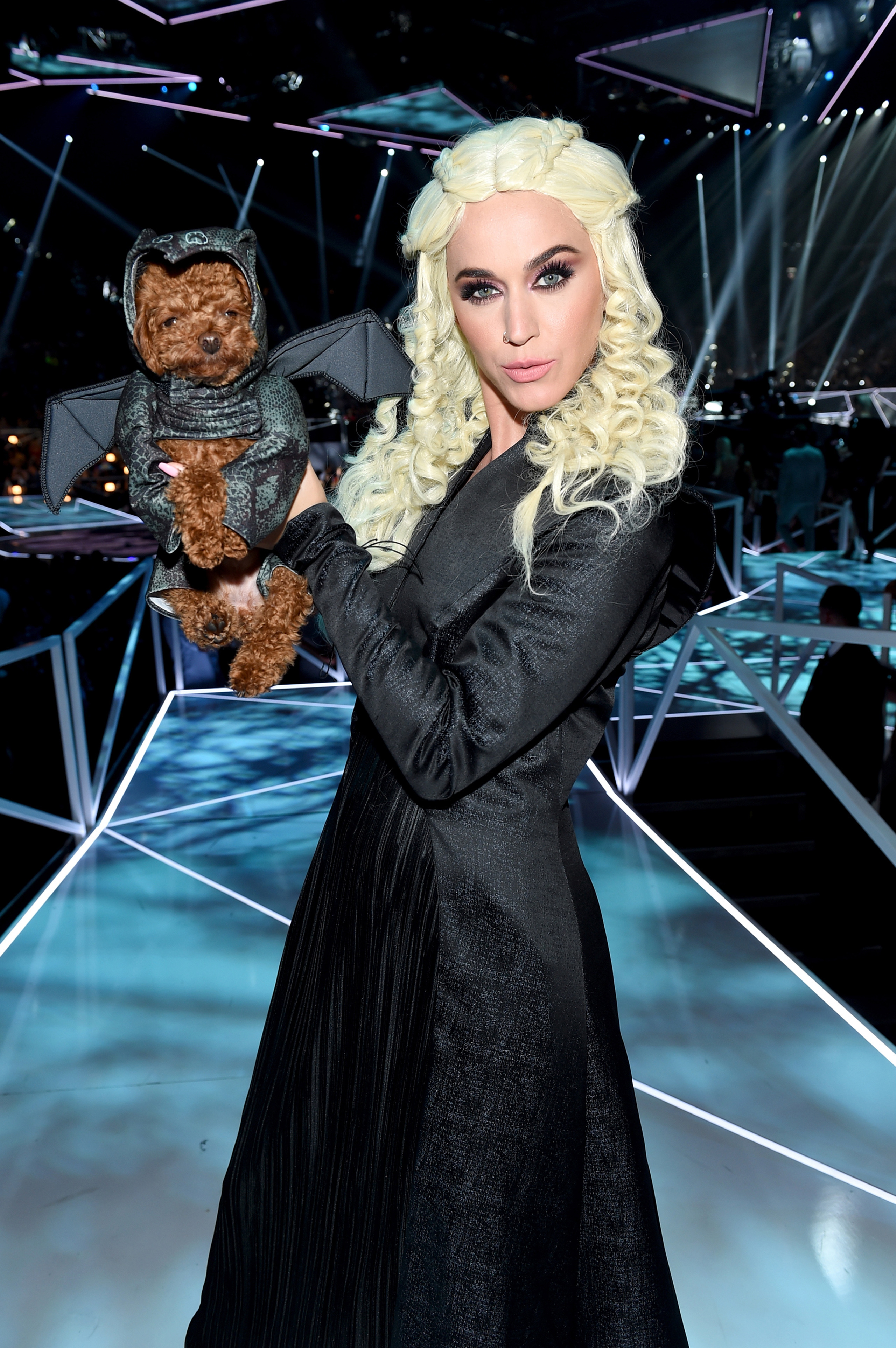 Katy Perry poses in costume during the 2017 MTV Video Music Awards at The Forum on August 27, 2017 in Inglewood, California.