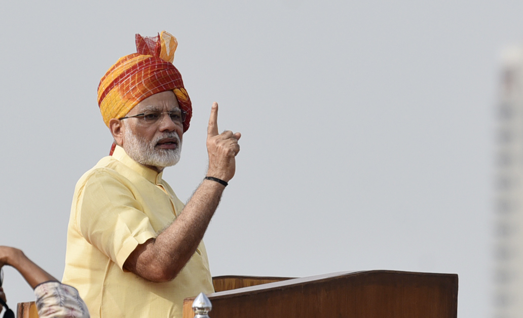 Prime Minister Narendra Modi addresses on the occasion of 71st Independence Day Celebrations at Red Fort, on August 15, 2017 in New Delhi, India.