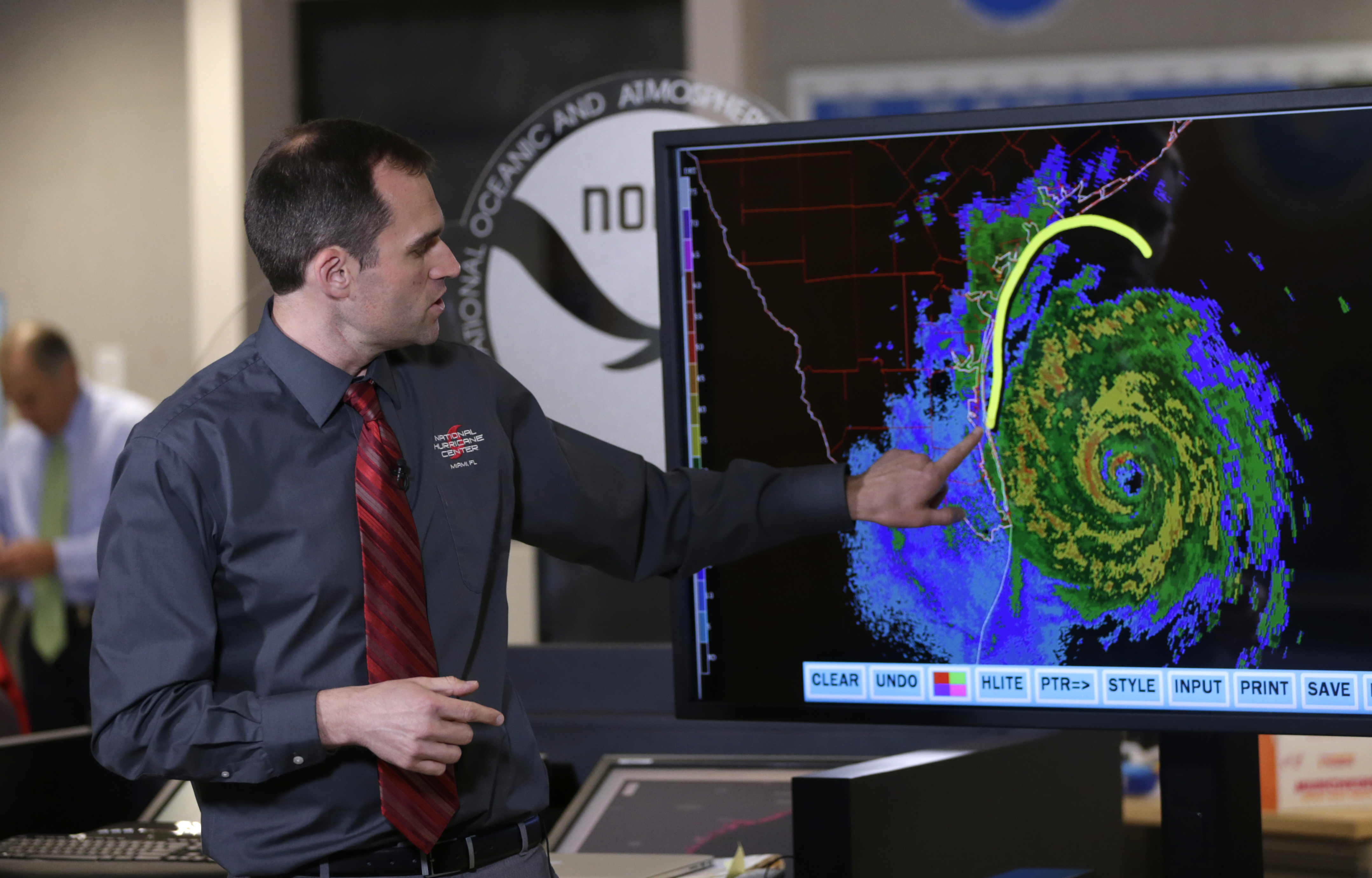Michael Brennan, branch chief of the National Hurricane Center, gives an update on Hurricane Harvey as it moves toward the Texas coast on Aug. 25, 2017.