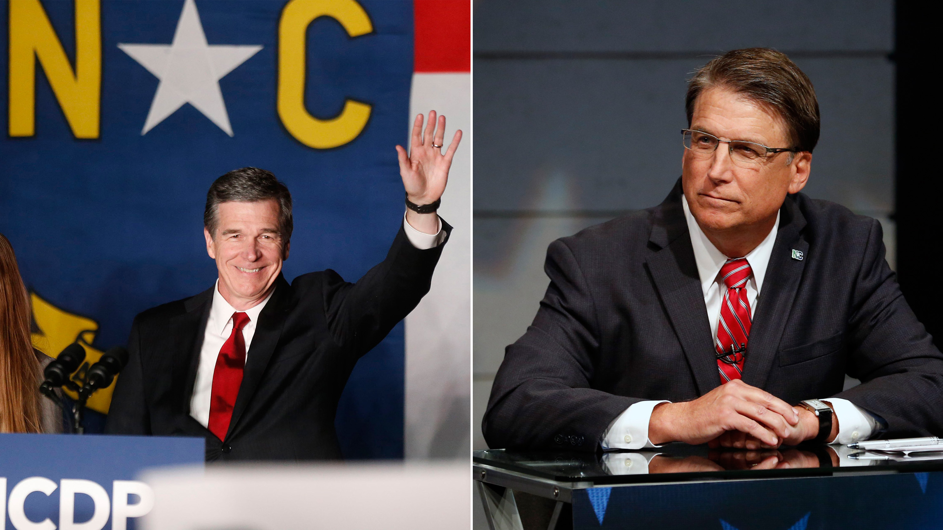 Roy Cooper greets supporters during an election party hosted by the North Carolina Democratic Party on Nov. 8, 2016; Pat McCrory, Republican candidate for Governor of North Carolina, during a debate at WRAL studios in Raleigh, N.C., on Oct. 18, 2016.