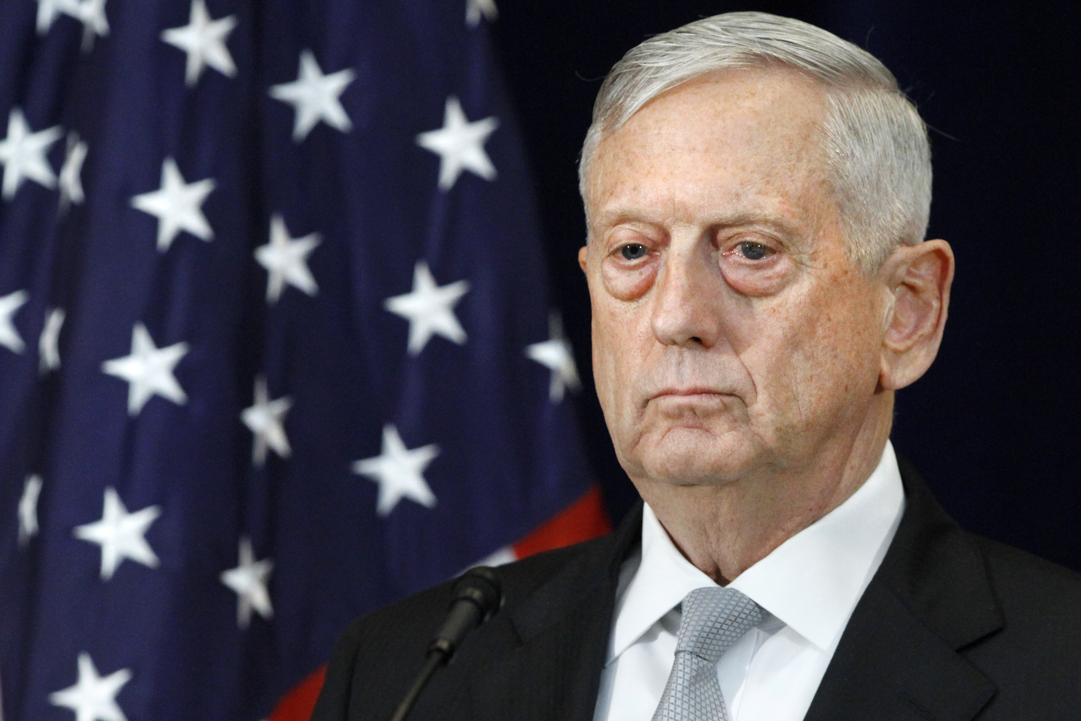 Defense Secretary James Mattis attends a news conference, Thursday, Aug. 17, 2017, at the State Department in Washington.