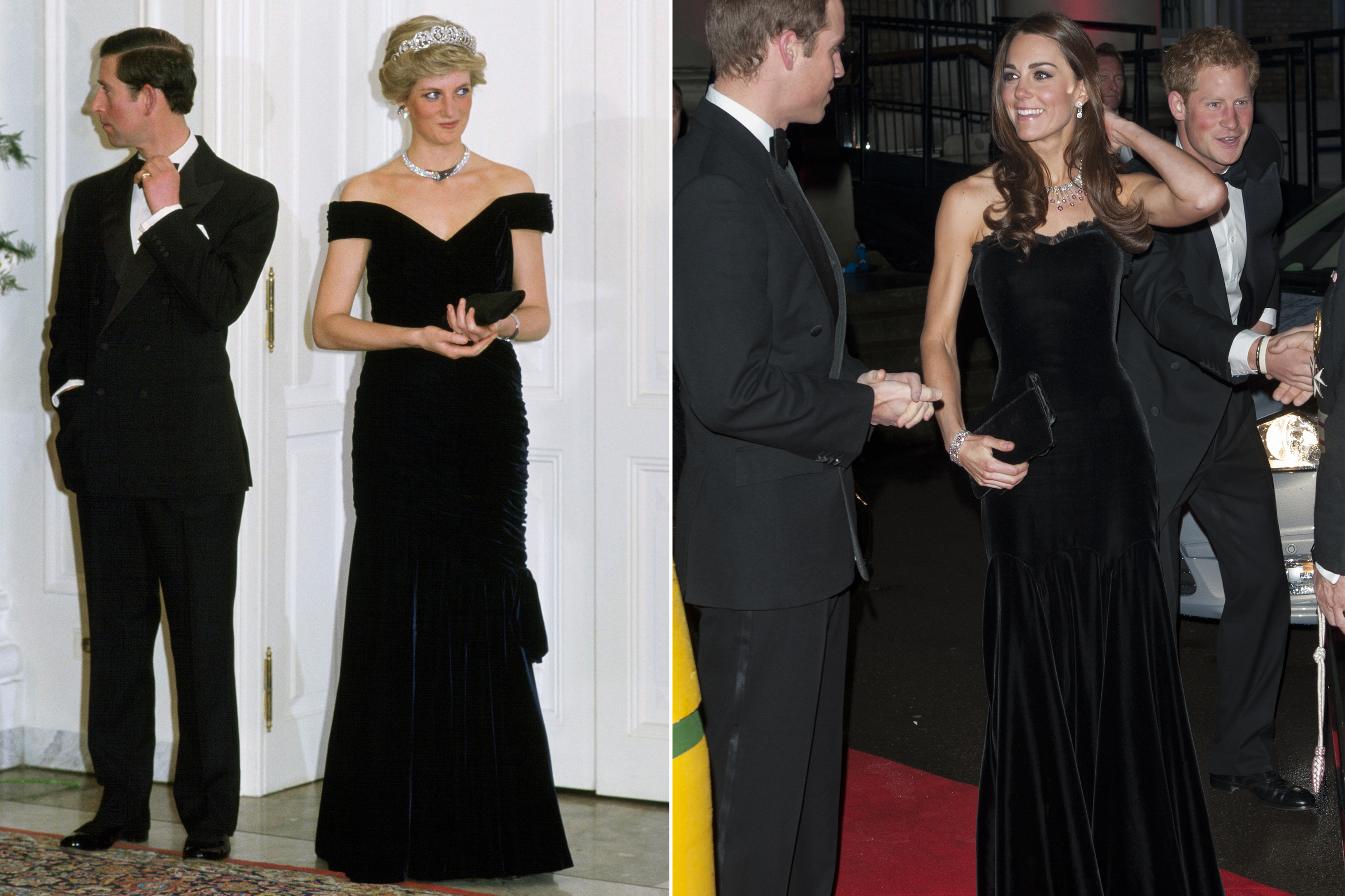 Diana wore a glamorous body-conscious black velvet gown to dance with John Travolta during a gala at the White House. For a military gala, Kate selected a similarly elegant style.