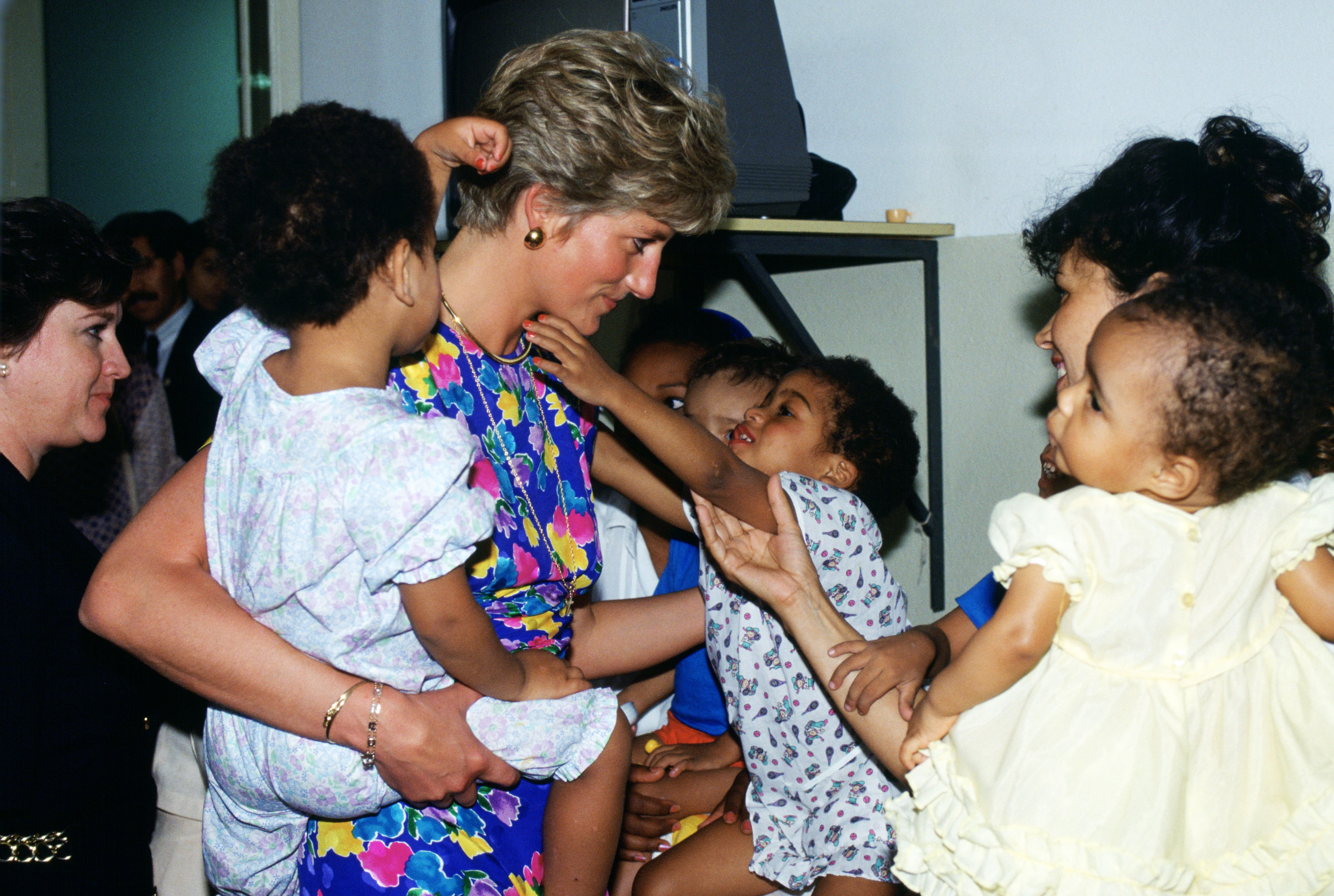 BRAZIL - APRIL 24: Diana, Princess of Wales visits a hostel for abandoned children in Sao Paulo, Brazil, many of them HIV positive or suffering from AIDS