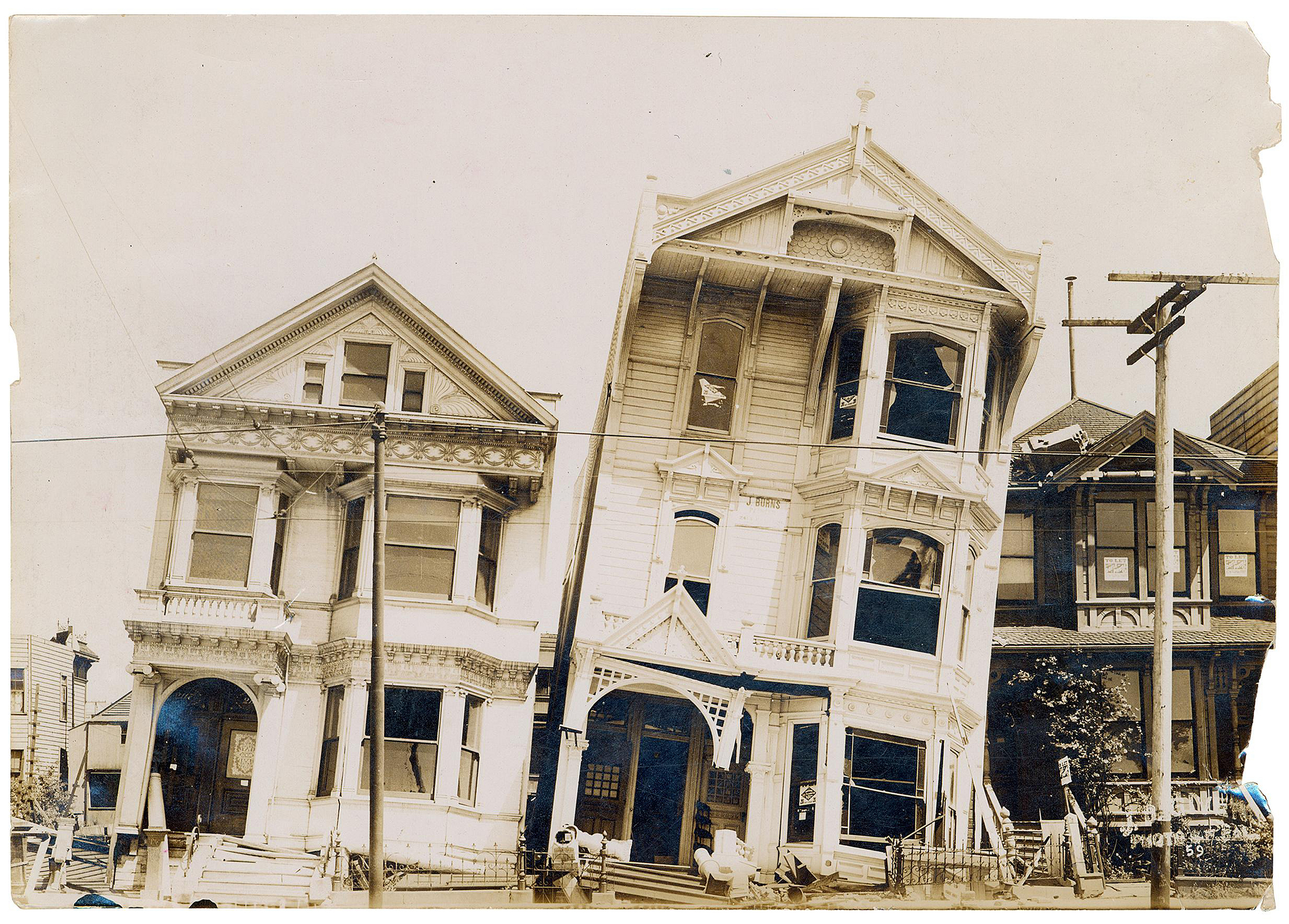 Houses in San Francisco, after an April 18, 1906, earthquake toppled them and killed thousands