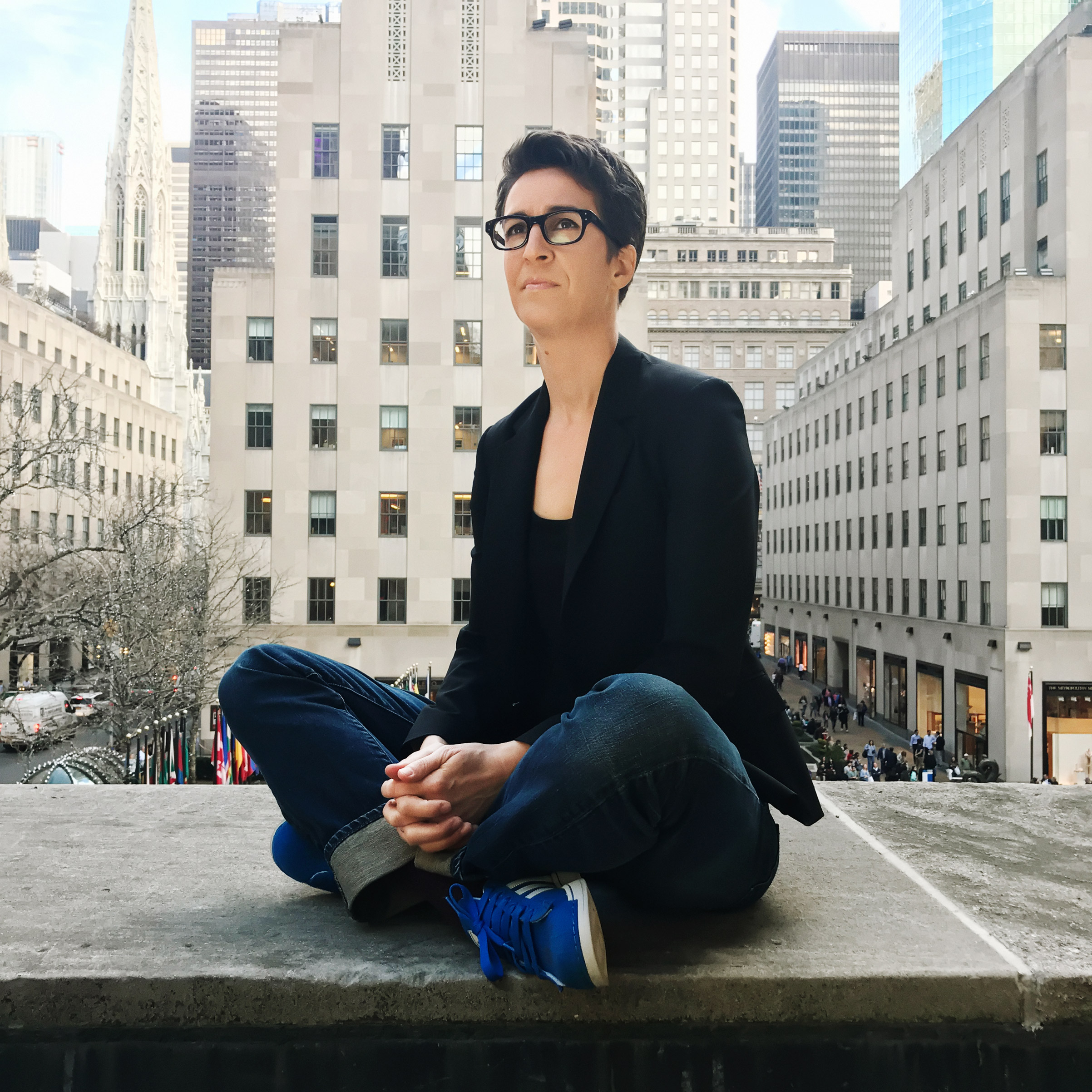 Portrait of Rachel Maddow, photographed at the Rockefeller Plaza, NYC, on February 24, 2017.