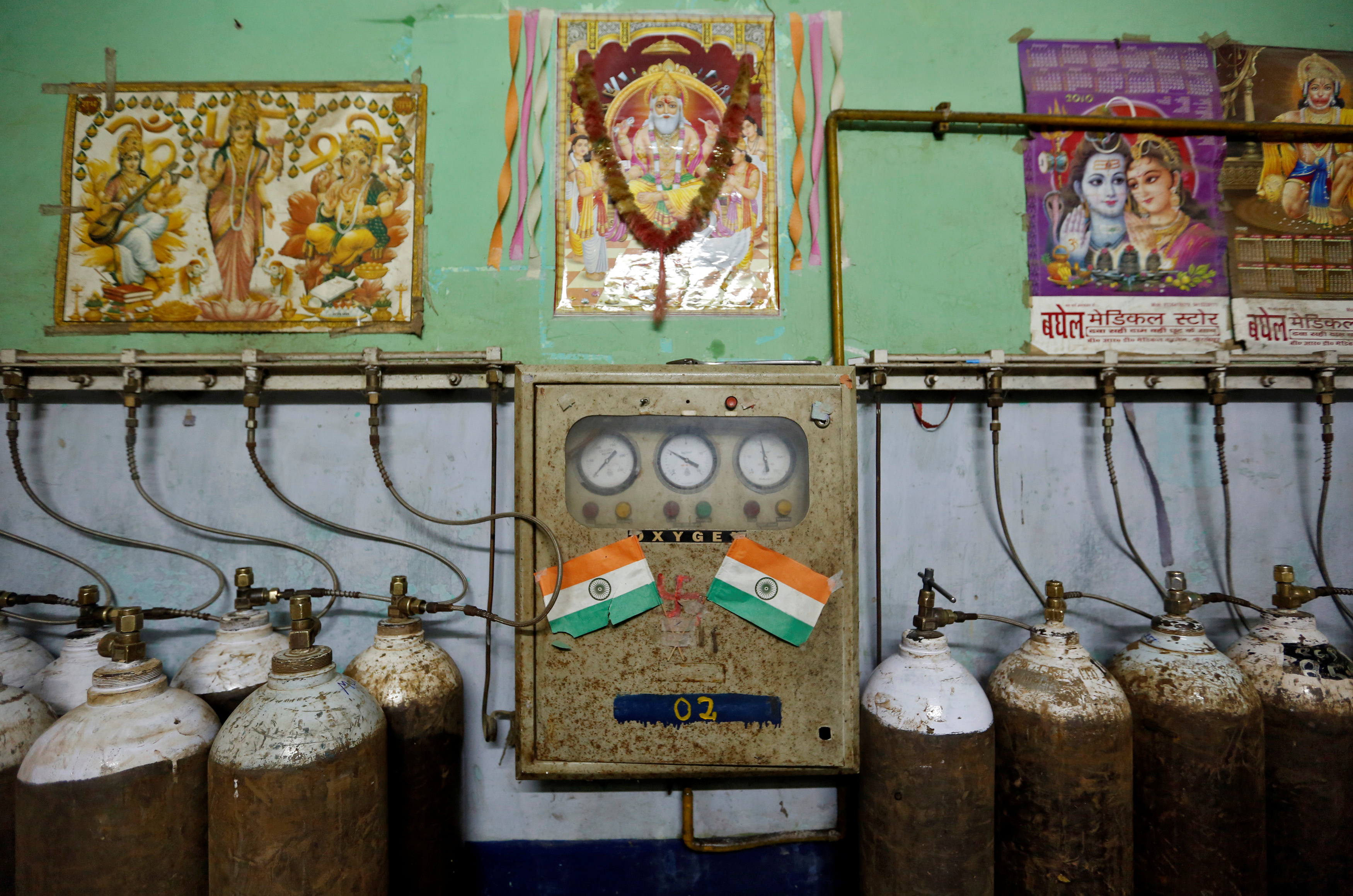 A room containing oxygen tanks is seen in the Baba Raghav Das hospital in Gorakhpur district, India on Aug. 13, 2017.