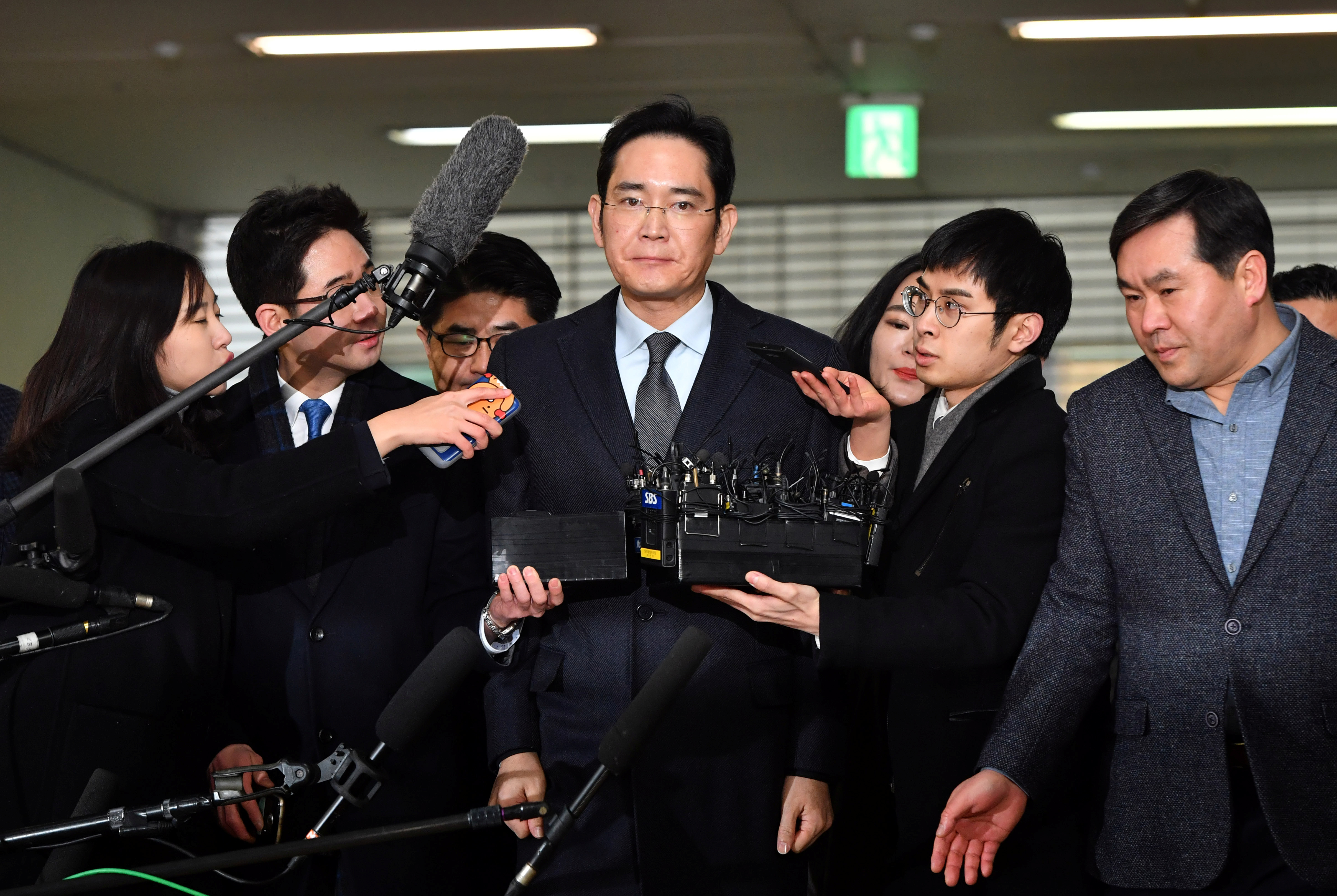 Lee Jae-yong, vice chairman of Samsung Electronics, aat the office of the independent counsel in Seoul on Feb. 13, 2017.