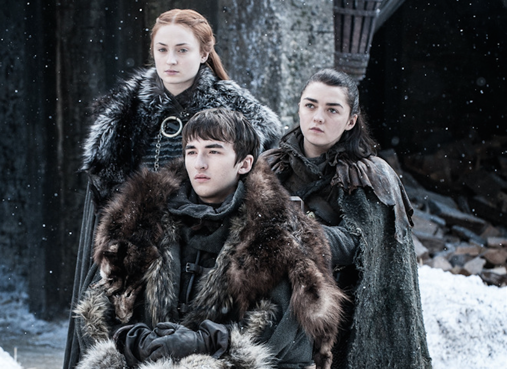 Sophie Turner, Isaac Hempstead Wright and Maisie Williams in Game of Thrones