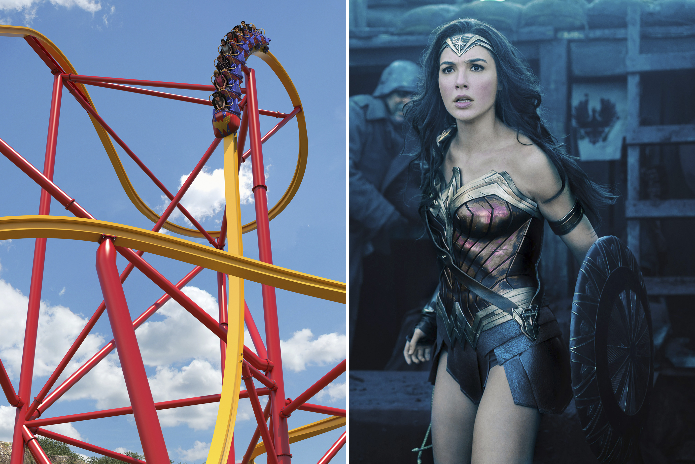 (left) Wonder Woman Golden Lasso Coaster; (right) WONDER WOMAN, Gal Gadot, 2017.