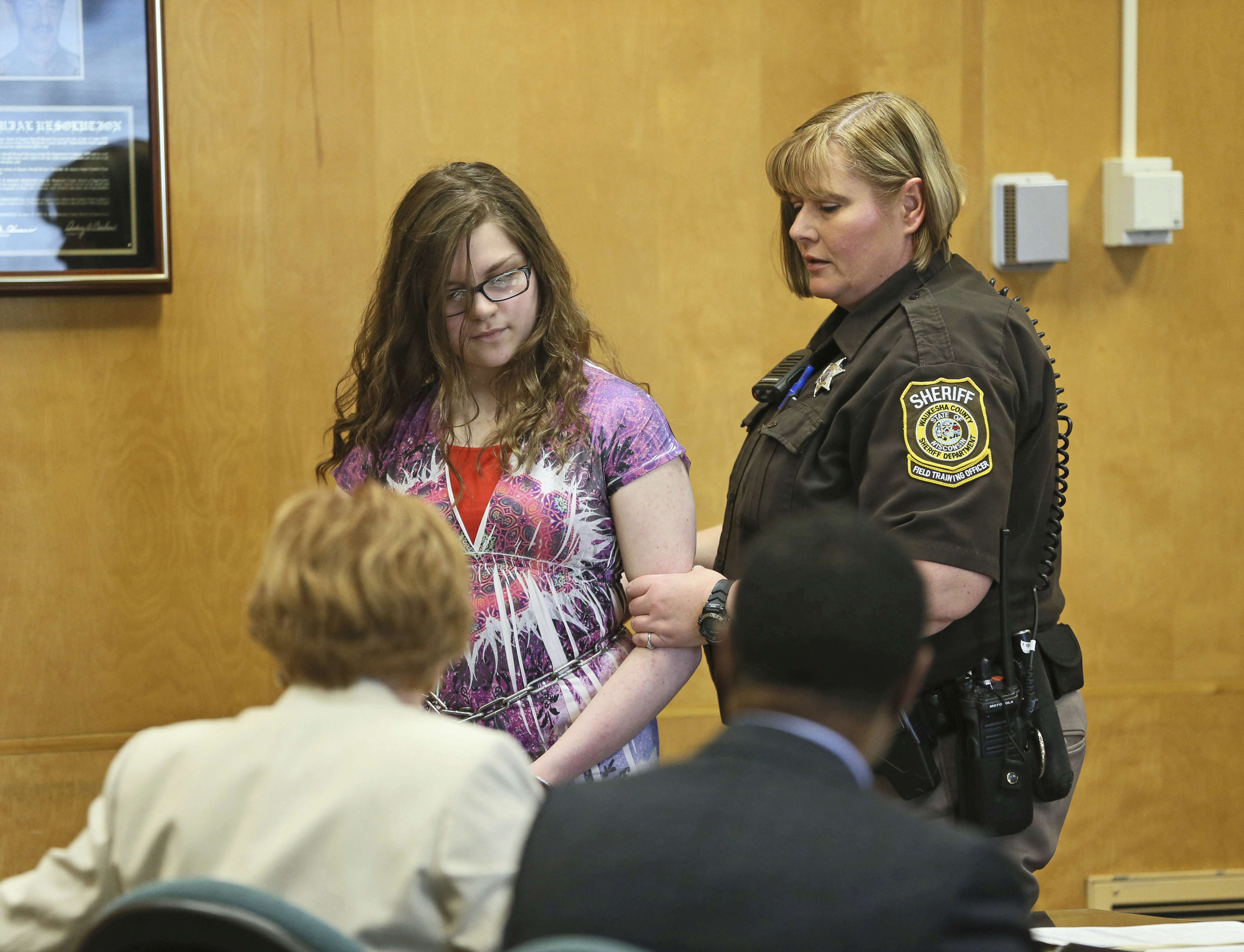 In a Monday, Feb. 20, 2017 file photo, Anissa Weier, 15, appears in court in Waukesha, Wis. Weier, one of two Wisconsin girls charged with repeatedly stabbing a classmate to impress the fictitious horror character Slender Man, pleaded guilty Aug. 21, 2017, to attempted second-degree homicide as a party to a crime, with use of a deadly weapon.