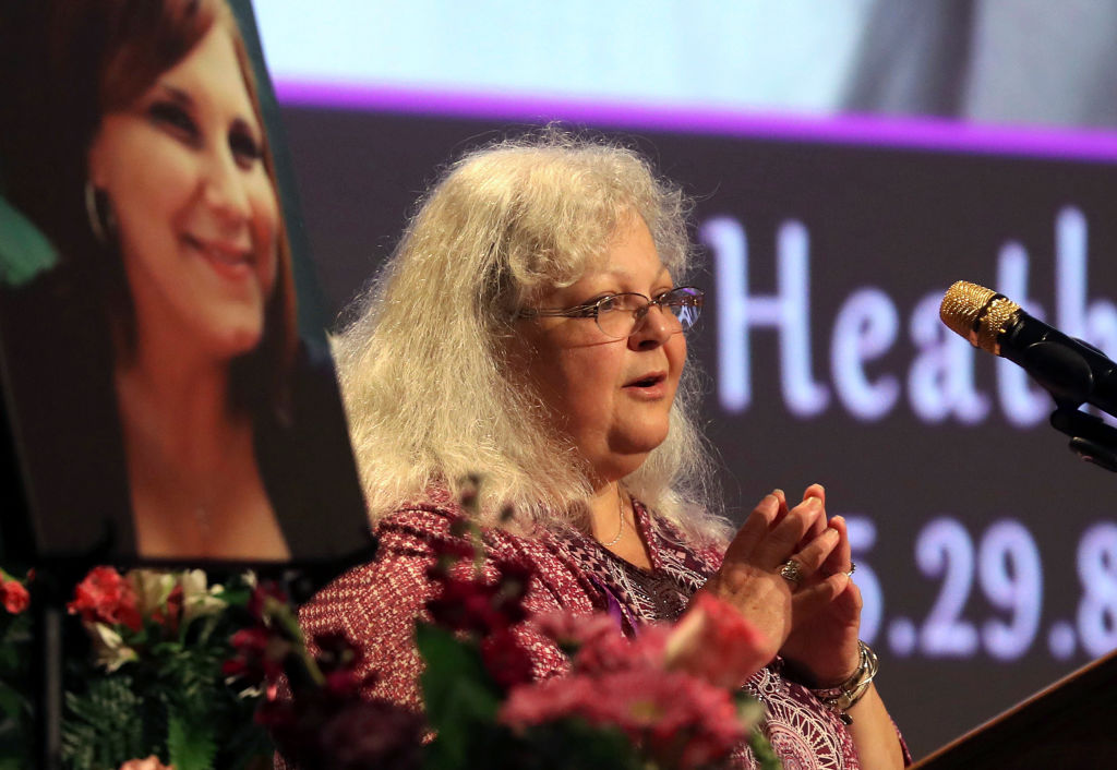 Susan Bro, mother to Heather Heyer, speaks during a memorial for her daughter at the Paramount Theater on Aug. 16, 2017 in Charlottesville, Va.