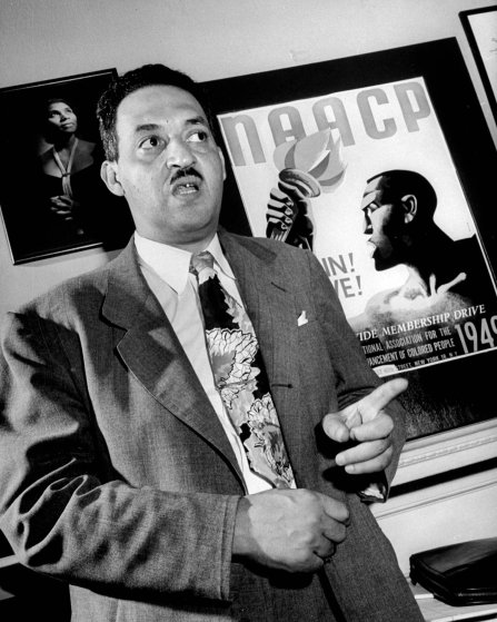 Thurgood Marshall, legal director of the NAACP, during the Trenton Six murder trial, 1949.