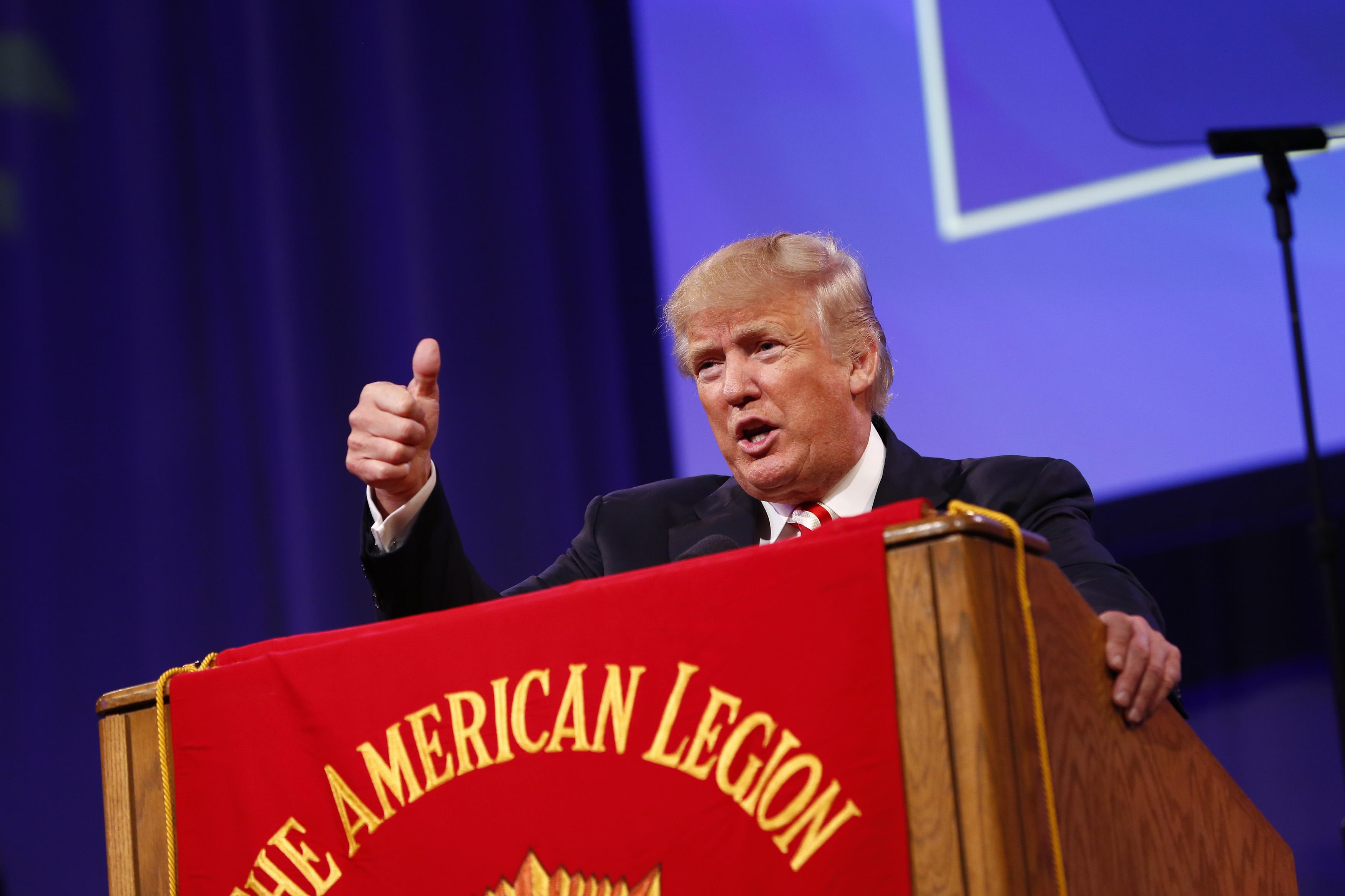 Republican presidential candidate Donald Trump speaks at the American Legion Convention September 1, 2016 in Cincinnati, Ohio. T