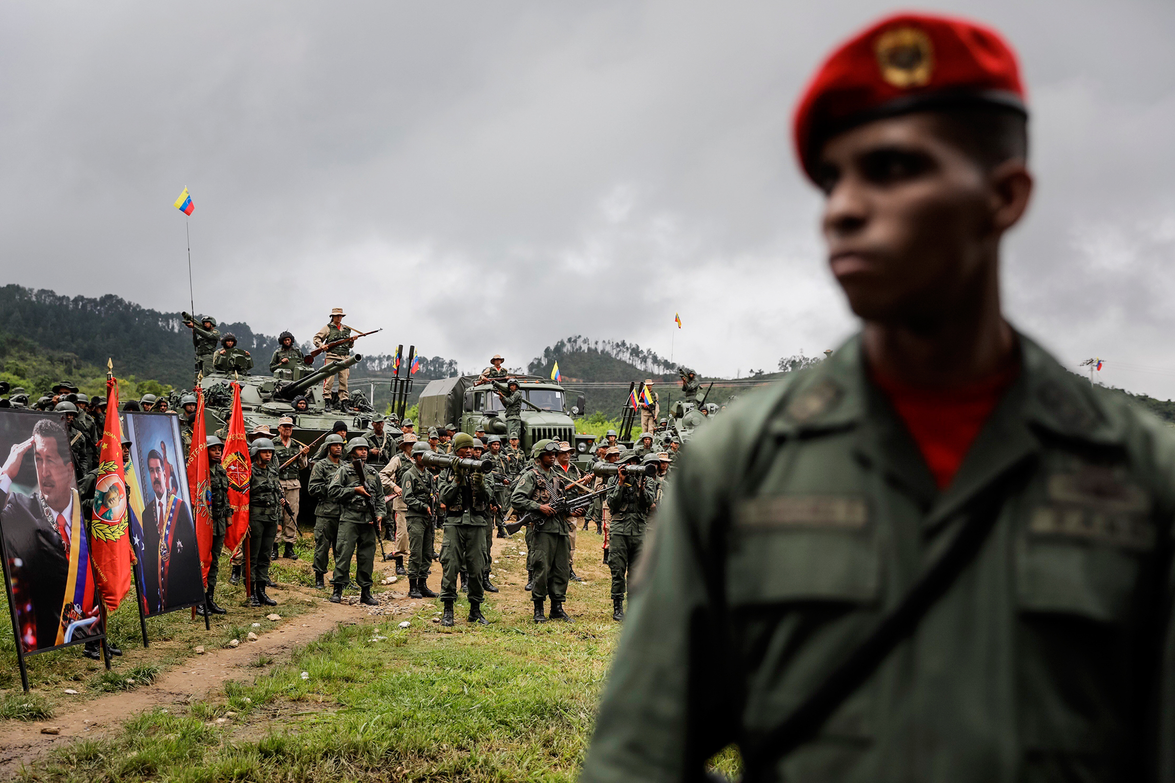 Venezuelan soldiers staged a show of force in Caracas on Aug.14 in response to Trump's remarks