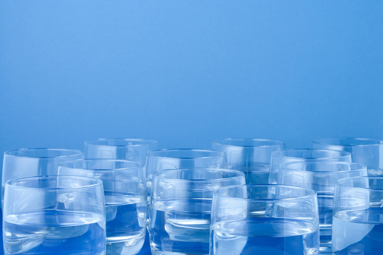 Twelve glasses of water