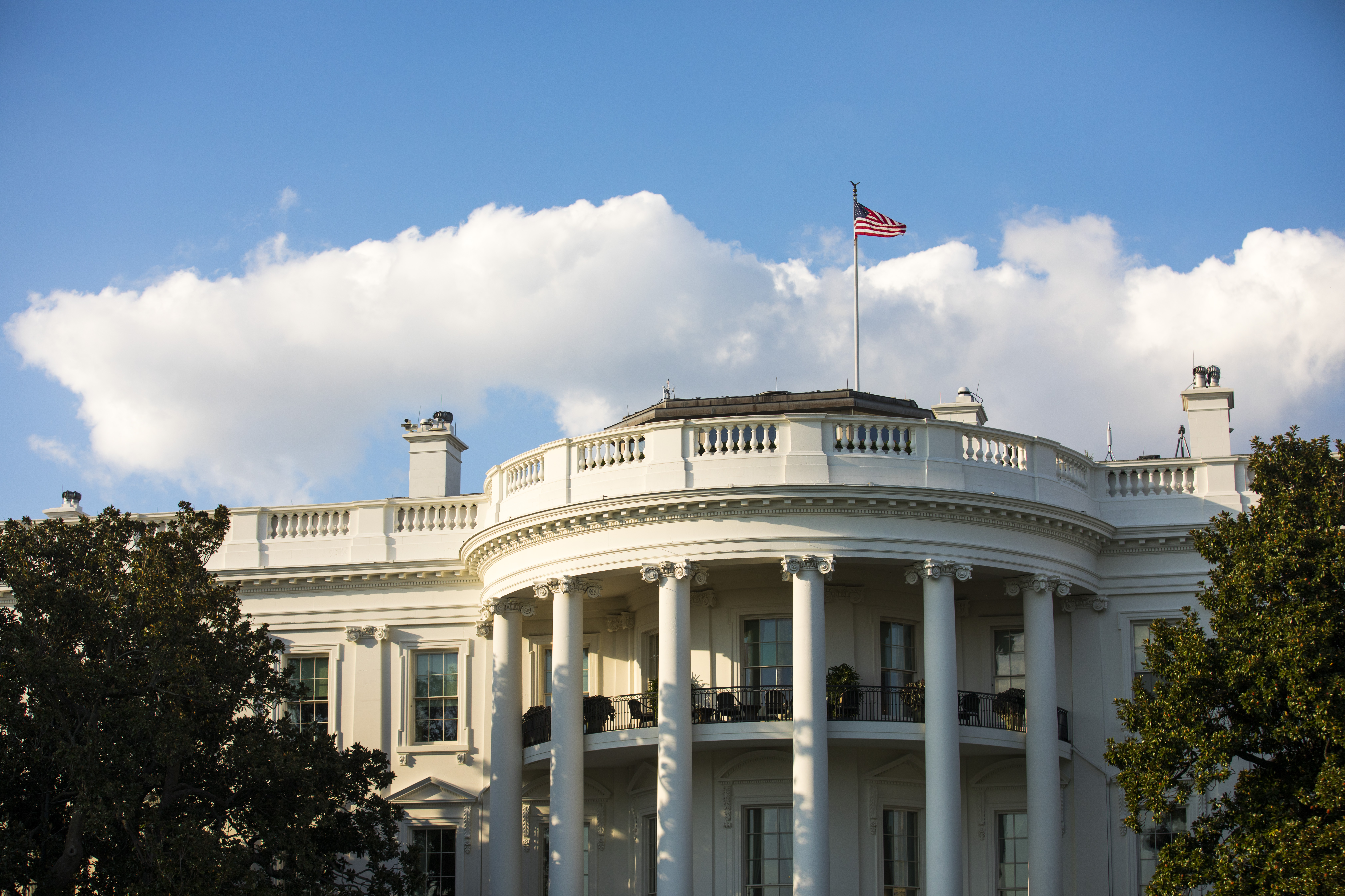 The south facade of the White House,  including the Truman Balcony,   October 3, 2016 in Washington, DC.