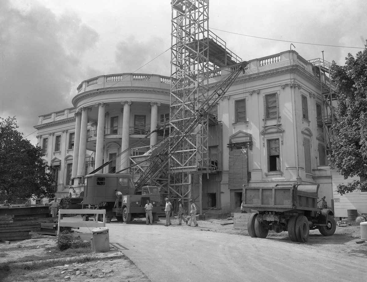 A view of construction at the White House during the Truman administration