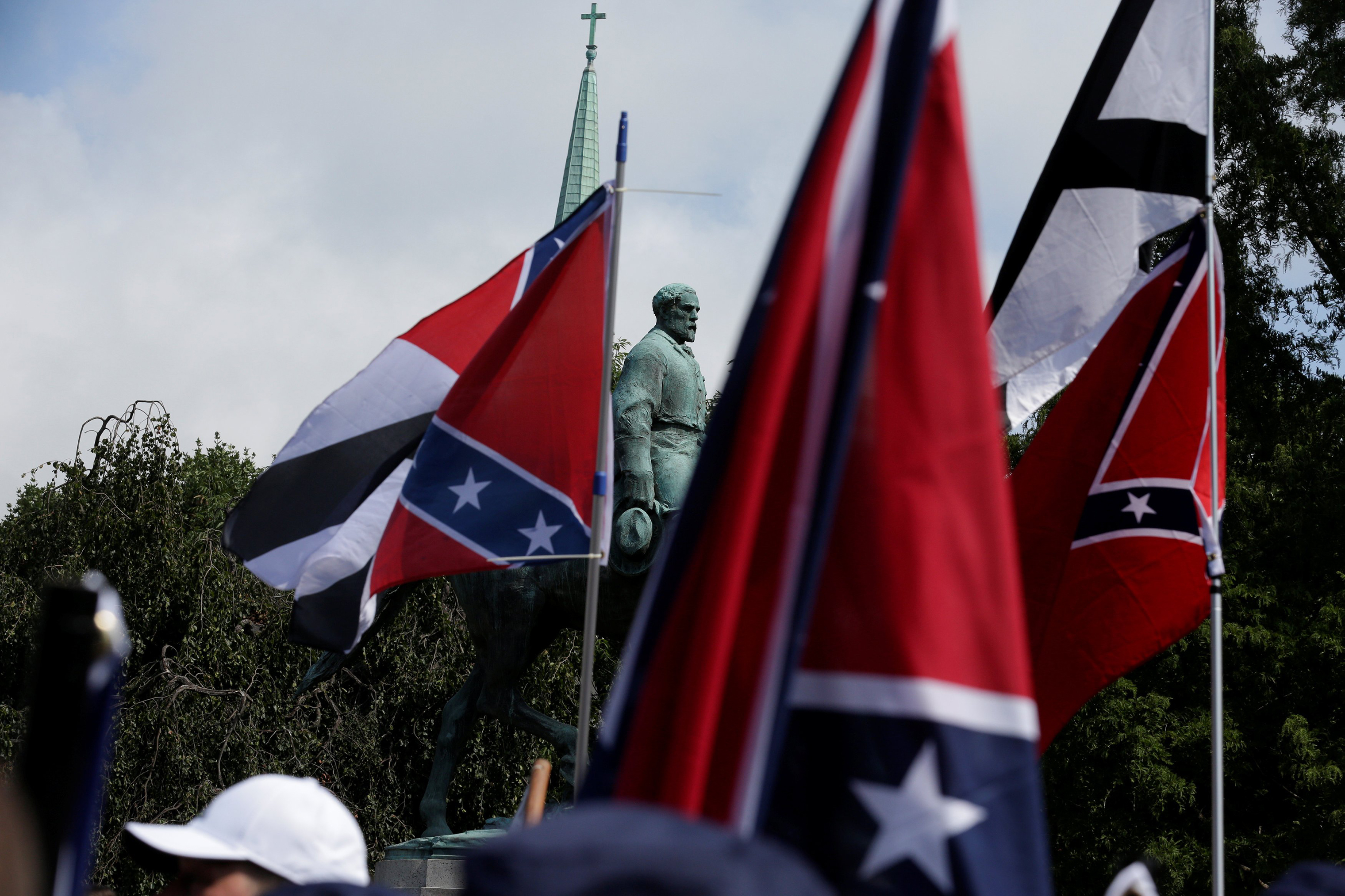 White nationalists gathered near the Robert E. Lee statue in Charlottesville, Va., on Aug. 12, 2017.