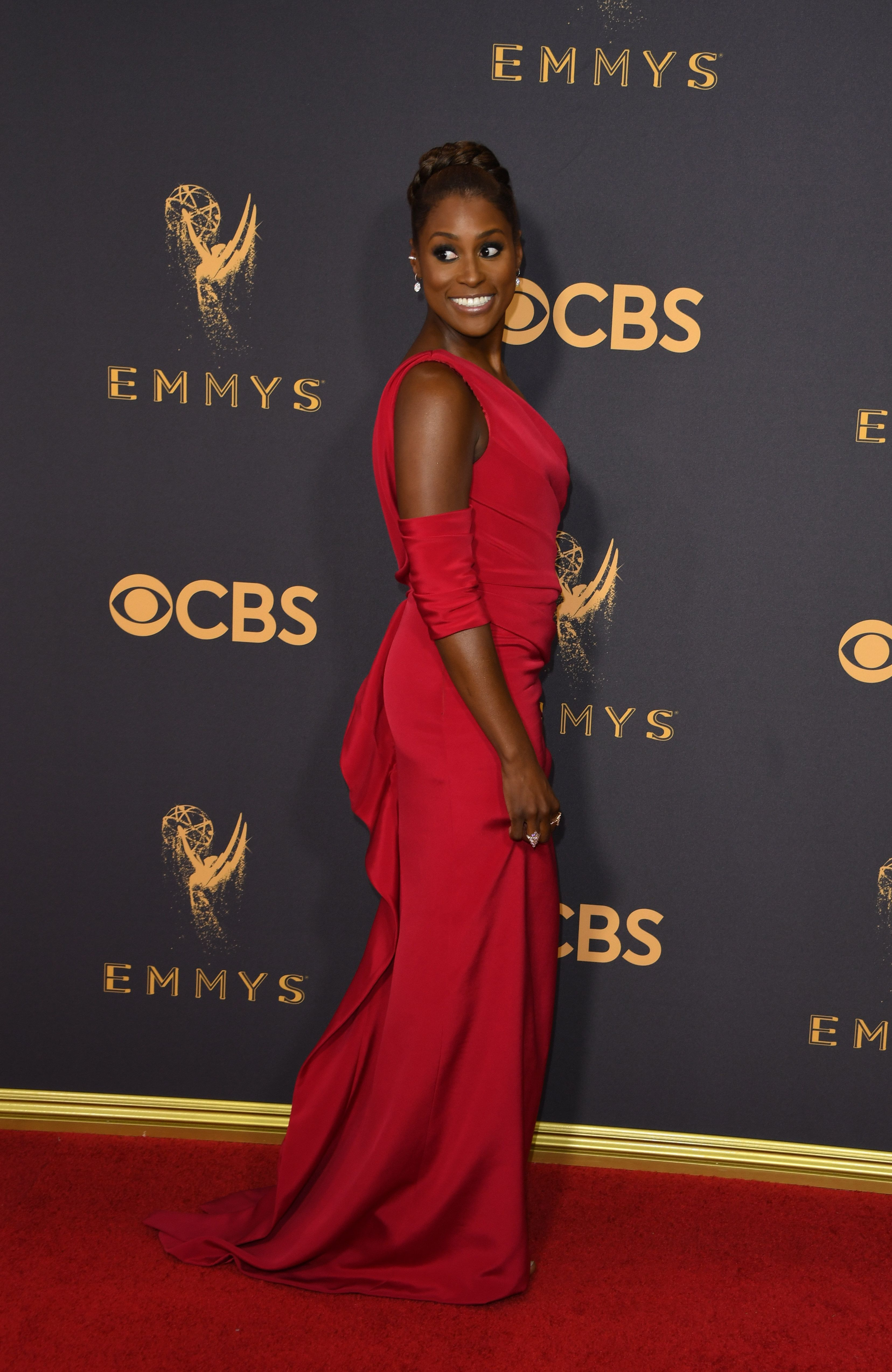 Actress Issa Rae arrives for the 69th Emmy Awards at the Microsoft Theatre on September 17, 2017 in Los Angeles, California.