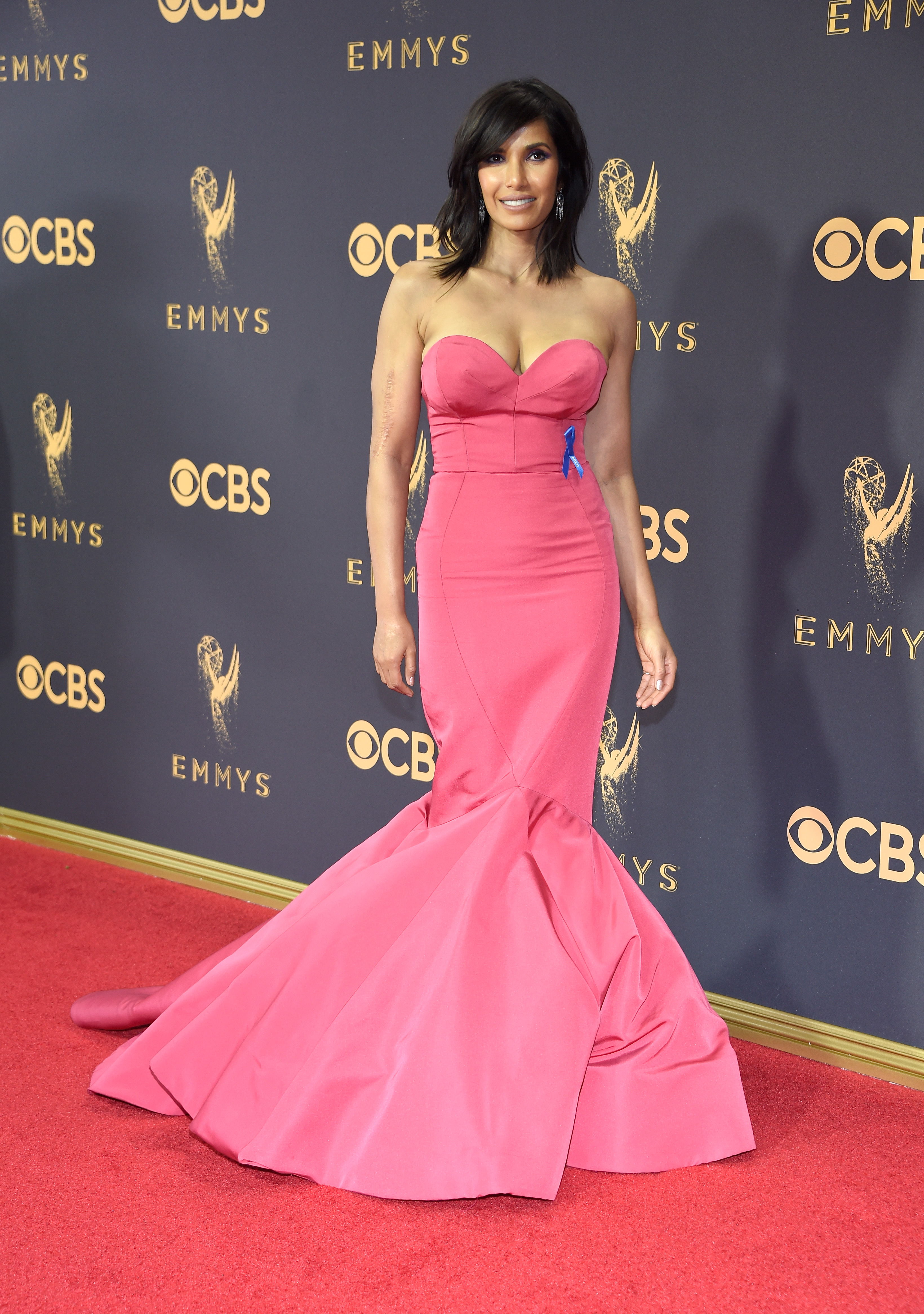 Padma Lakshmi  attends the 69th Annual Primetime Emmy Awards at Microsoft Theater on Sept. 17, 2017 in Los Angeles.