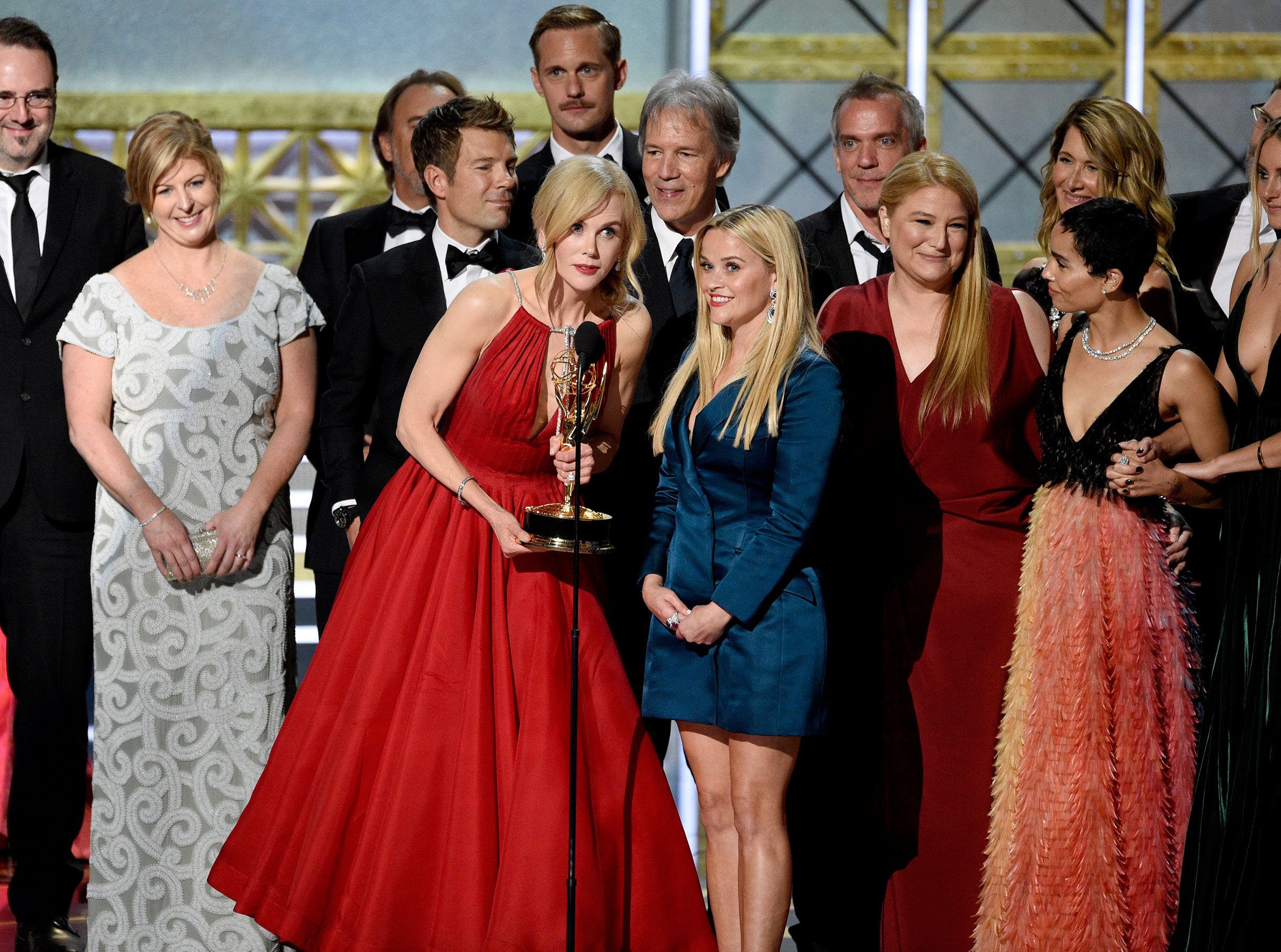 Nicole Kidman, center left, Reese Witherspoon, center right, and cast and crew accept the award for outstanding limited series for  Big Little Lies  at the 69th Primetime Emmy Awards on Sept. 17, 2017, at the Microsoft Theater in Los Angeles.