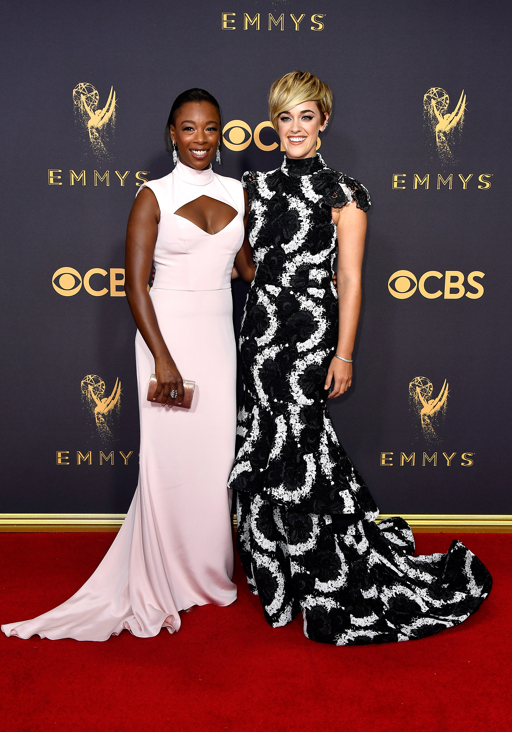 Actor Samira Wiley and Lauren Morelli attend the 69th Annual Primetime Emmy Awards at Microsoft Theater on September 17, 2017 in Los Angeles, California.