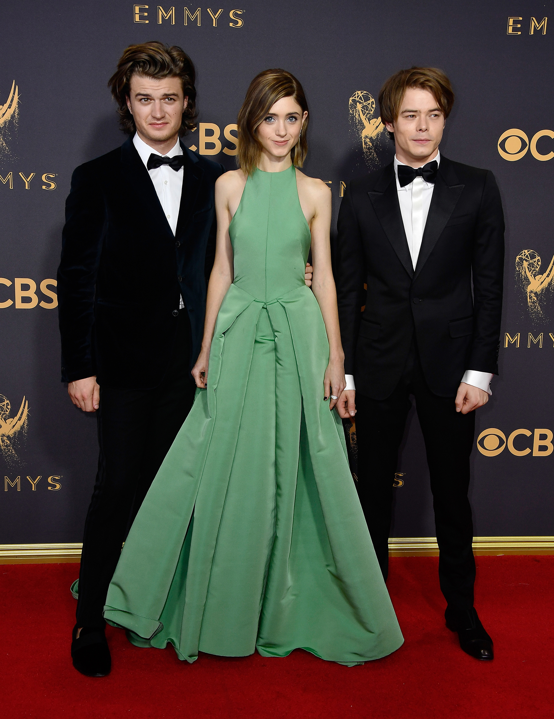 (L-R) Actors Joe Keery, Natalia Dyer and Charlie Heaton attend the 69th Annual Primetime Emmy Awards at Microsoft Theater on September 17, 2017 in Los Angeles, California.