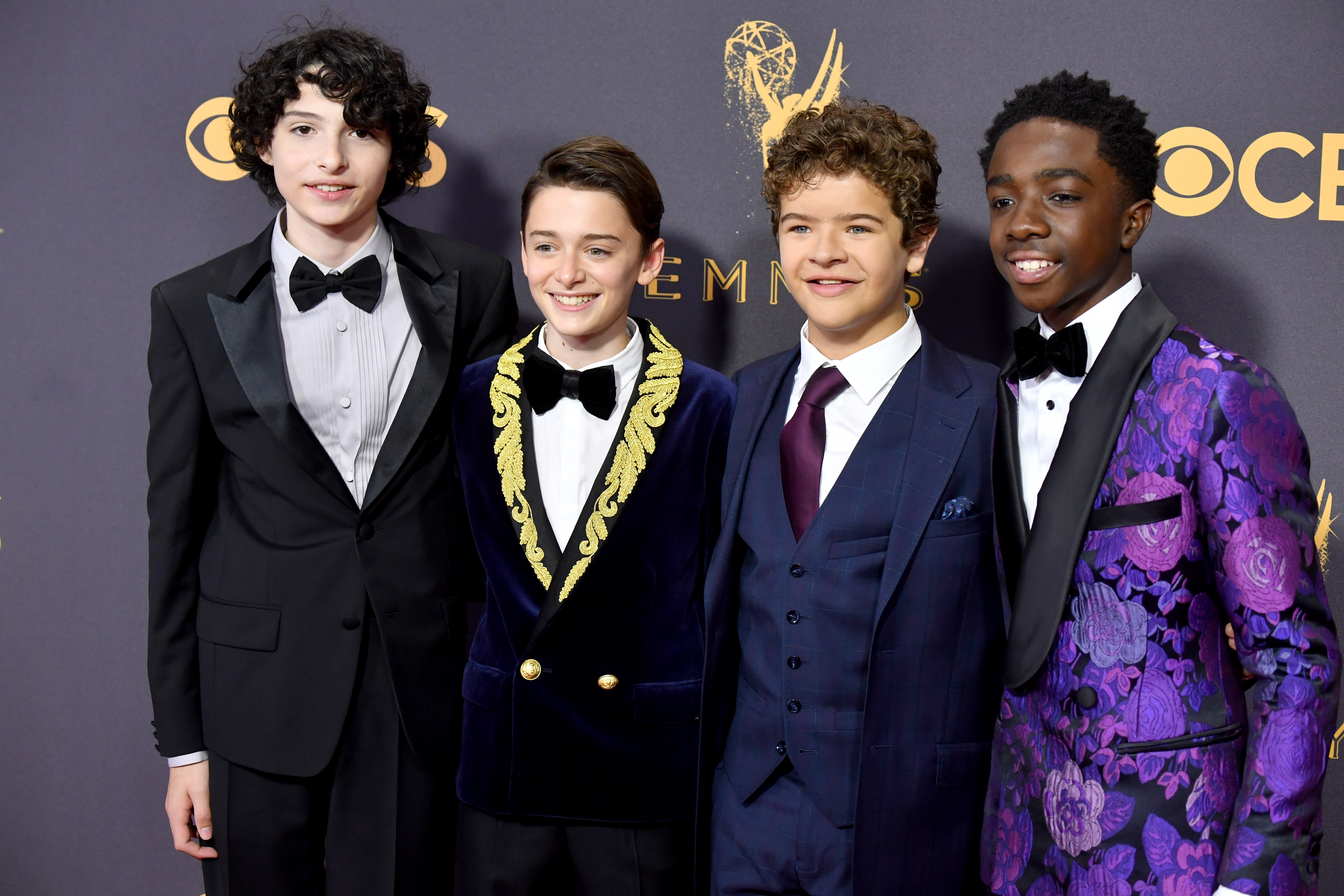 (From left) Actors Finn Wolfhard, Noah Schnapp, Gaten Matarazzo and Caleb McLaughlin attend the 69th Annual Primetime Emmy Awards at Microsoft Theater on Sept. 17, 2017 in Los Angeles.