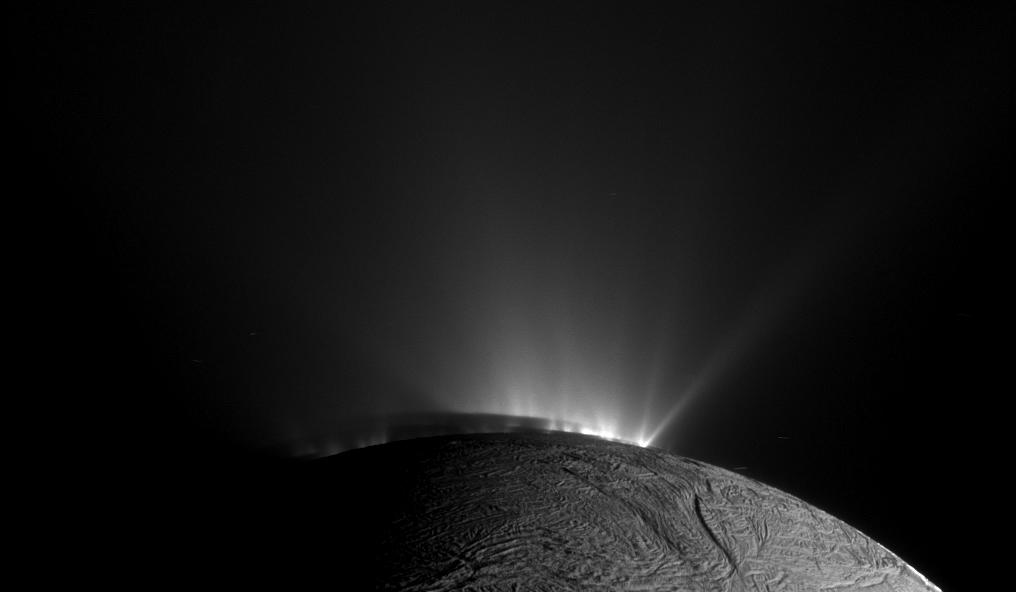 This narrow-angle camera image was taken on November 30. 2010 as Cassini was looking across the south pole of Saturn's sixth biggest moon, Enceladus.