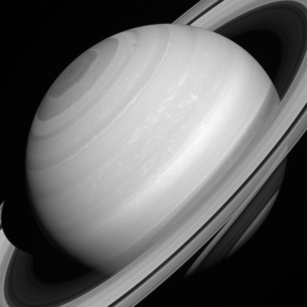Although solid-looking in many images, Saturn's rings are actually translucent. In this picture, taken August 12, 2014 we can glimpse the shadow of the rings on the planet through (and below) the A and C rings themselves.