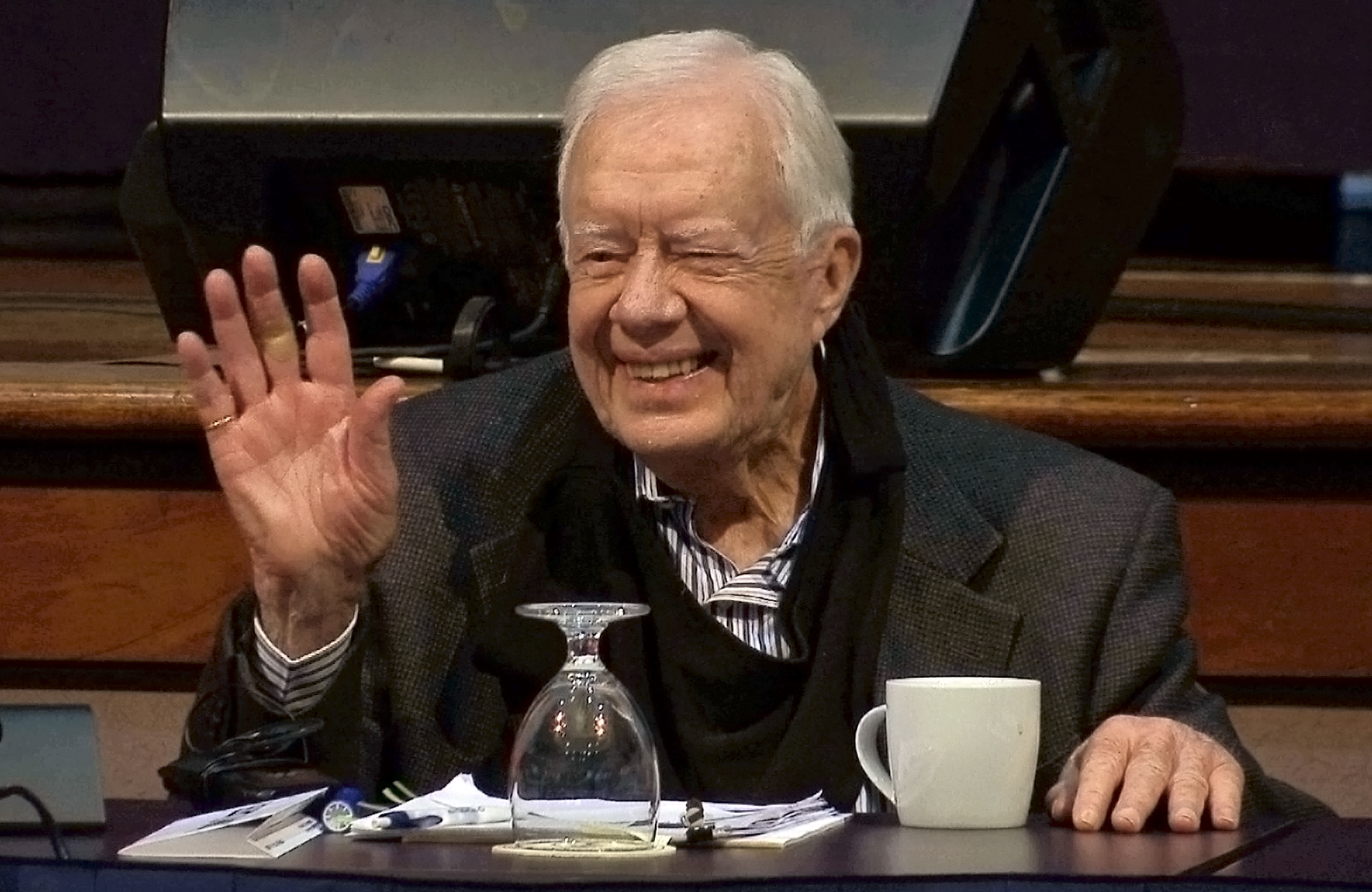 In this image taken from video, former President Jimmy Carter at the Carter Center in Atlanta, GA, on May 9, 2017.