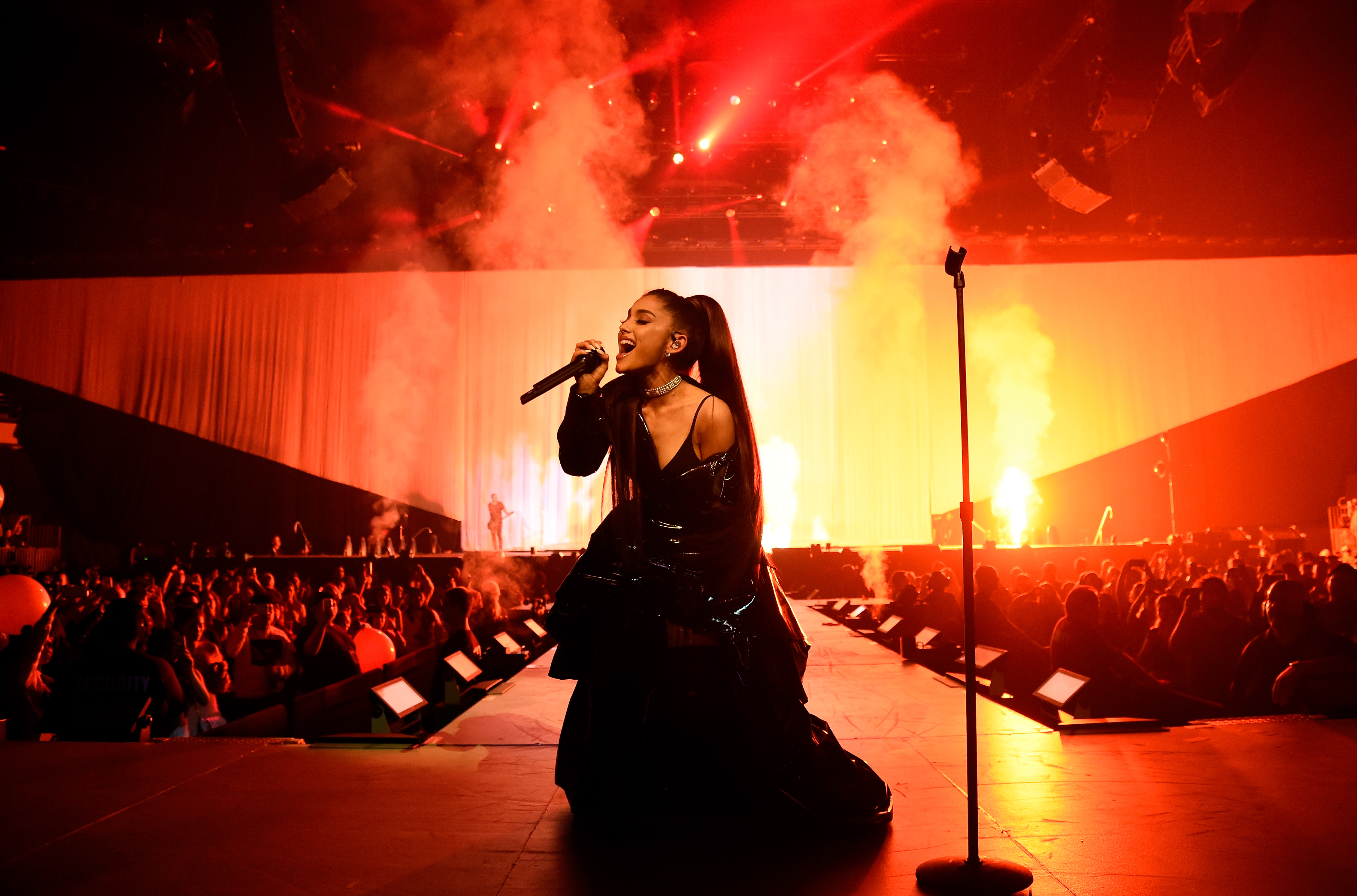 Ariana Grande performs on stage during the  Dangerous Woman  Tour Opener at Talking Stick Resort Arena on February 3, 2017 in Phoenix, Arizona.