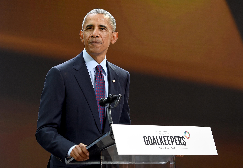 President Barack Obama speaks at Goalkeepers 2017 at Jazz at Lincoln Center on September 20, 2017 in New York City.