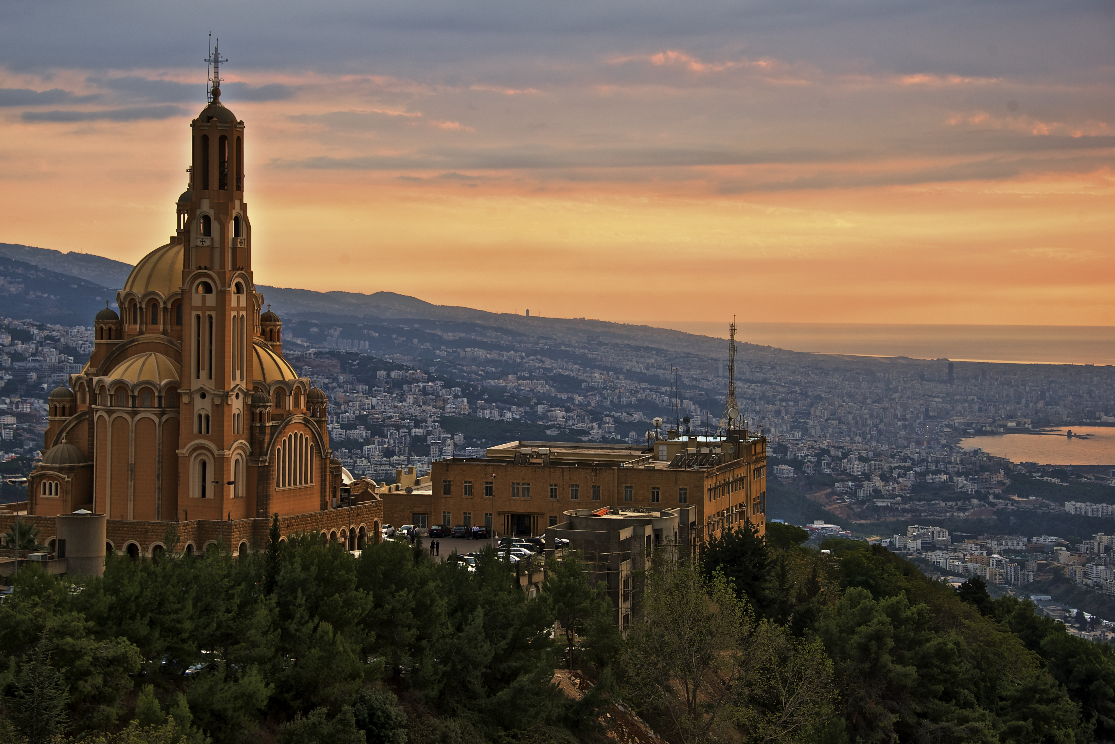 View of Beirut and it has been taken from Harissa at sunset.