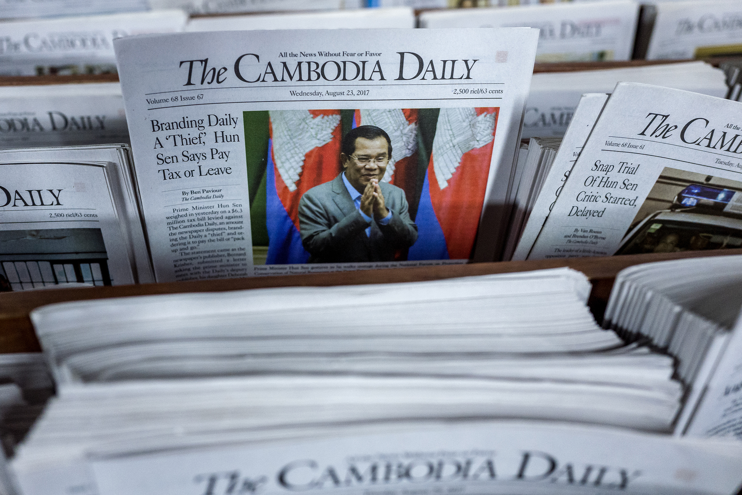 The dispute between the government of Prime Minister Hun Sen and The Cambodia Daily appeared on an August front page, in Phnom Penh on Sept. 1, 2017.