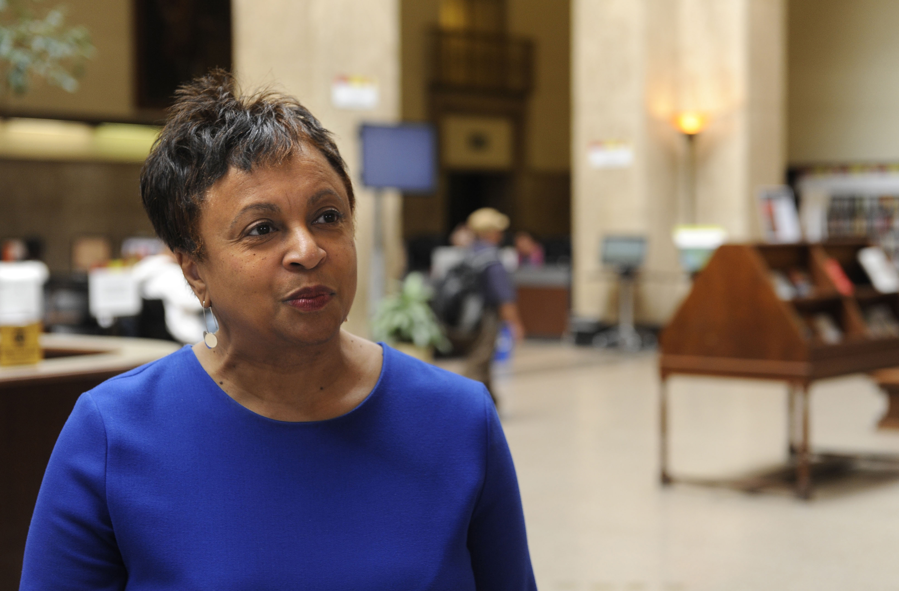 Carla Hayden, in an April 2015 file image, is confirmed by the Senate on Wednesday, July 13, 2016, to head the Library of Congress. Hayden is the longtime leader of Baltimore's library system. (Barbara Haddock Taylor/Baltimore Sun/TNS via Getty Images)