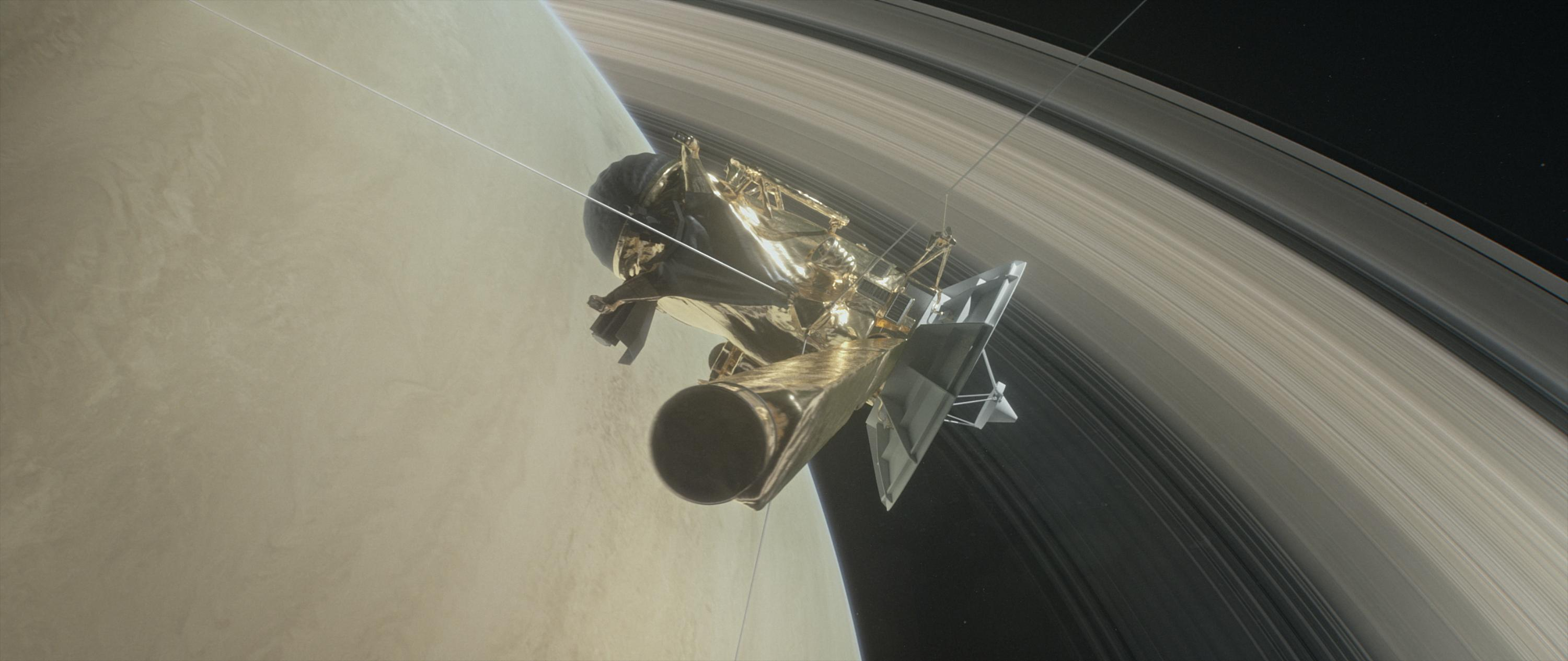 Farewell to all that: An artist's rendering of Cassini's final approach to Saturn
