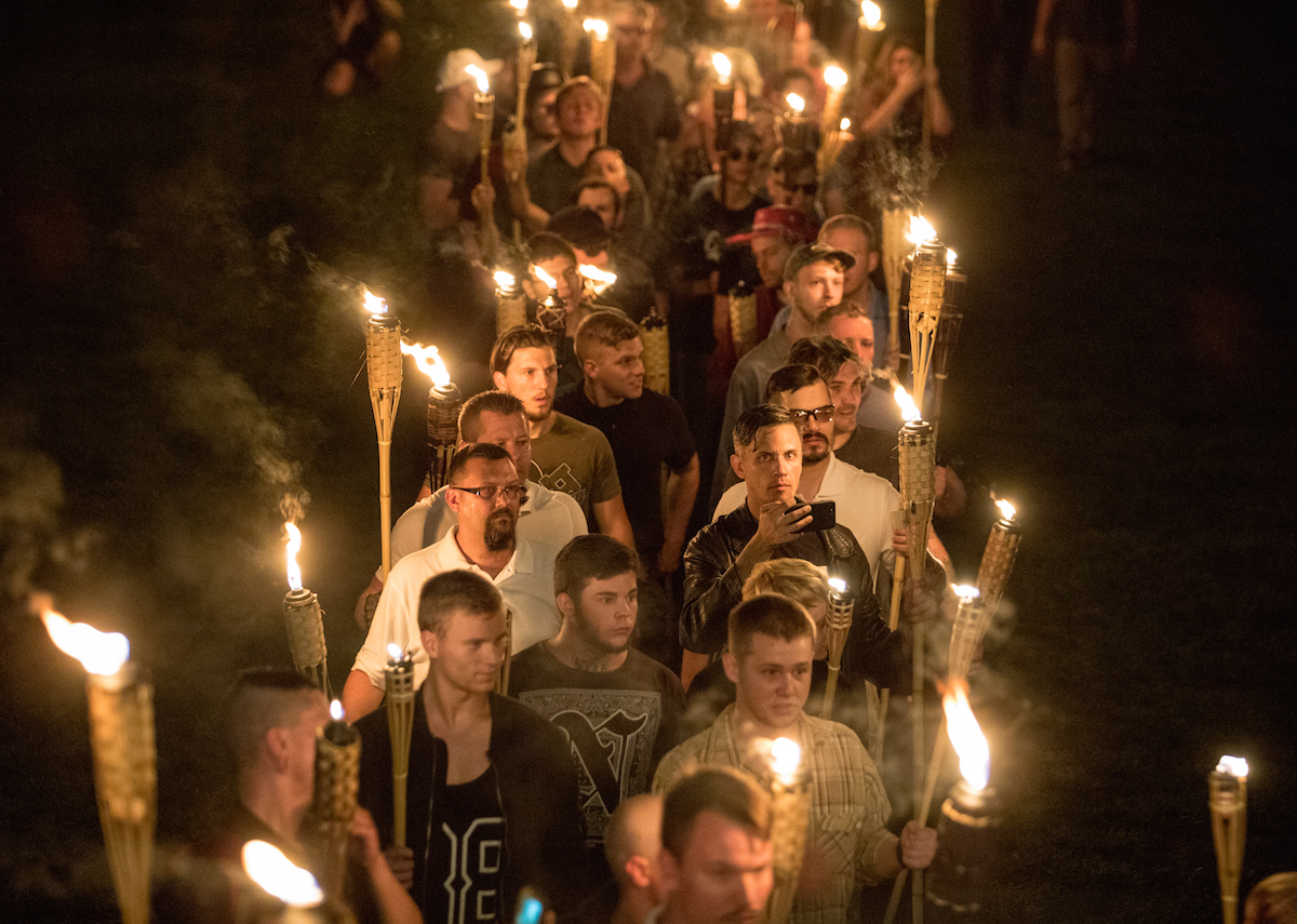 White nationalists and white supremacists carrying torches marched in a parade through the University of Virginia campus in Charlottesville, Va., on Aug. 11, 2017.
