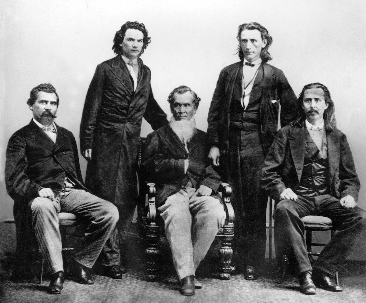 Cherokee Indians in Washington in 1866 to negotiate the treaty with the United States.