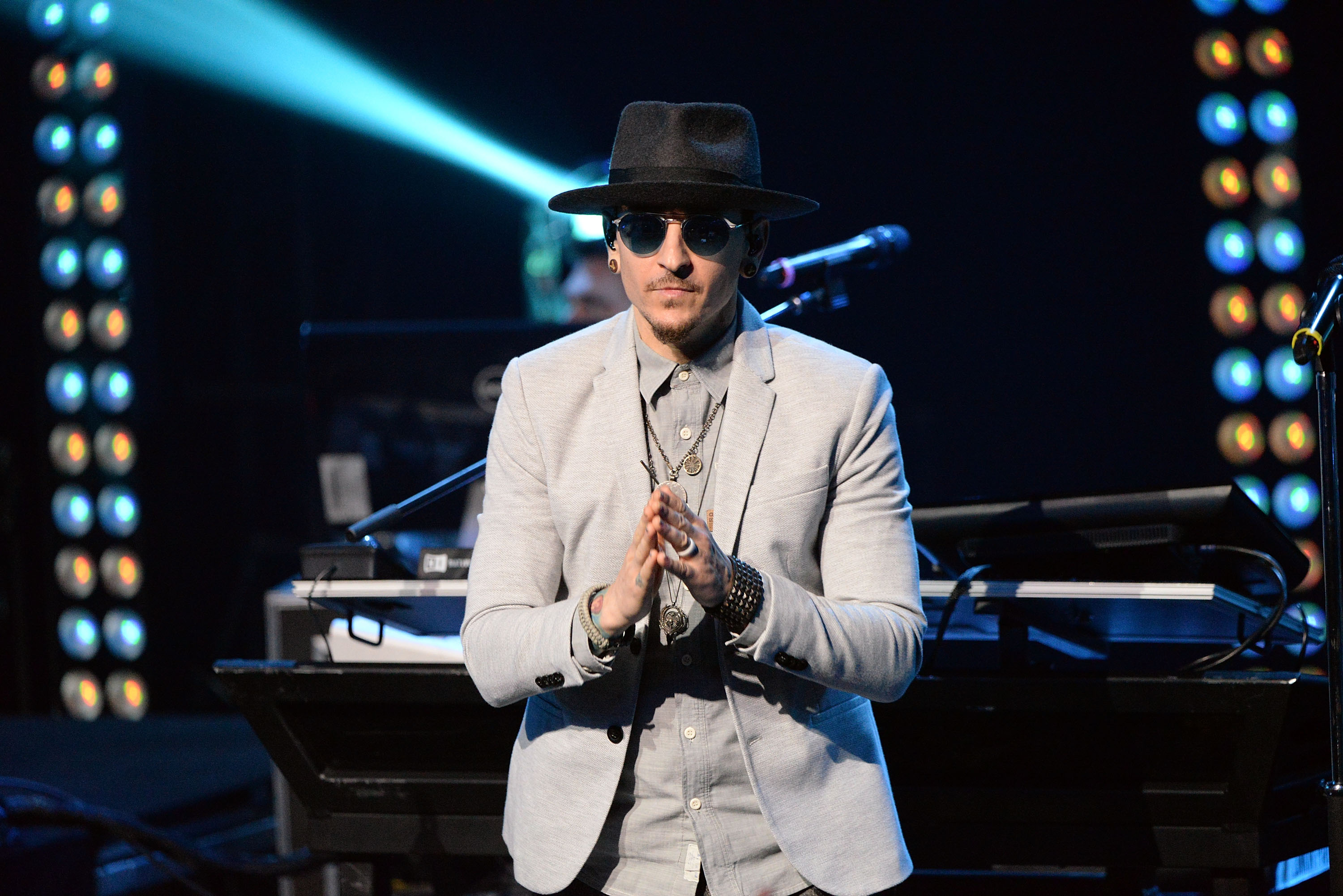 Singer Chester Bennington of Linkin Park performs onstage during the band's  One More Light  album release party at the iHeartRadio Theater on May 22, 2017 in Burbank, California.
