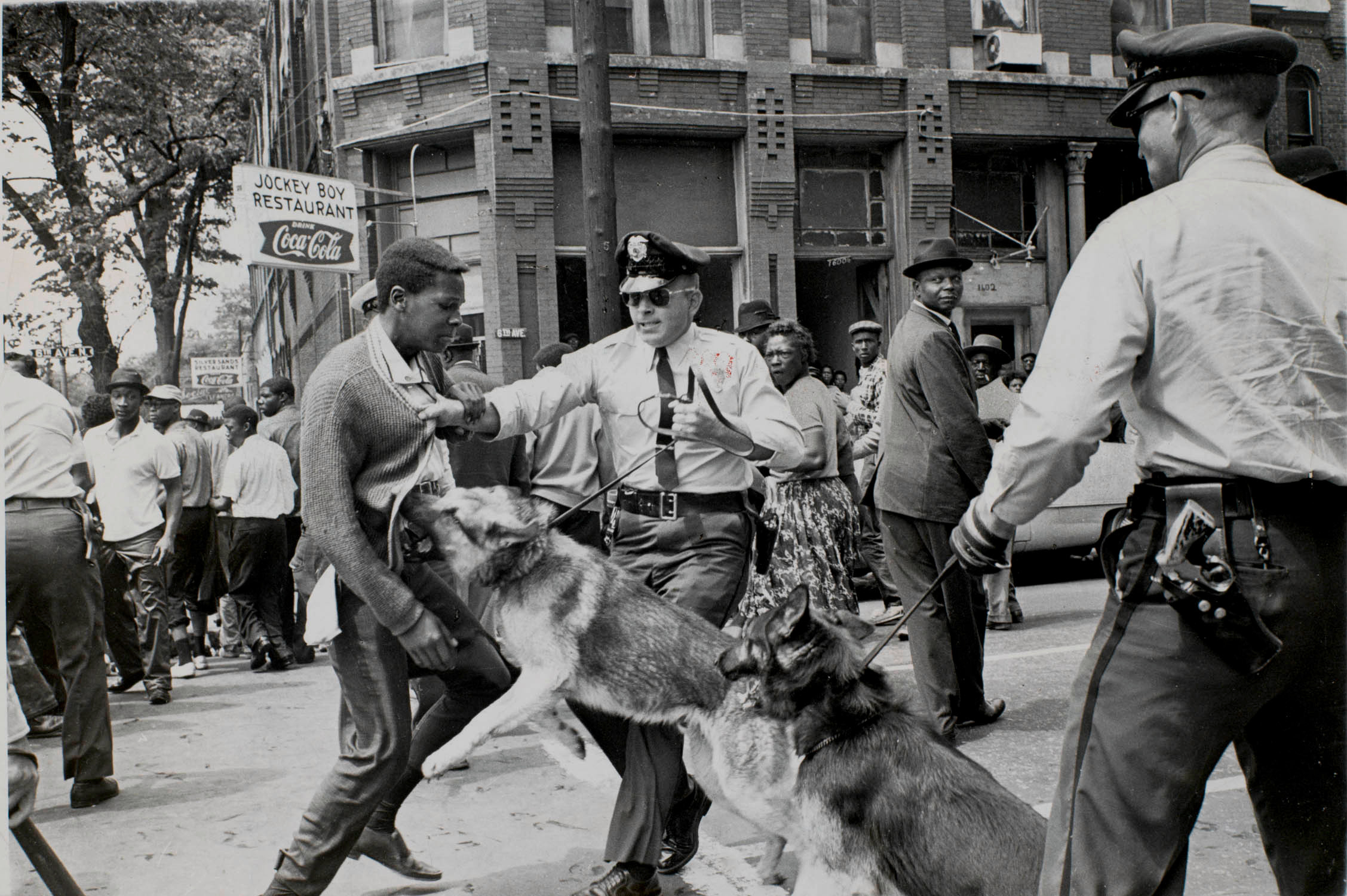 Bill Hudson (American, 1932–2010), Police Dog Attack, Birmingham, Alabama, 1963, gelatin silver print. High Museum of Art, Atlanta, purchase with funds from Sandra Anderson Baccus in loving memory of Lloyd Tevis Baccus, M.D., 2007.100.