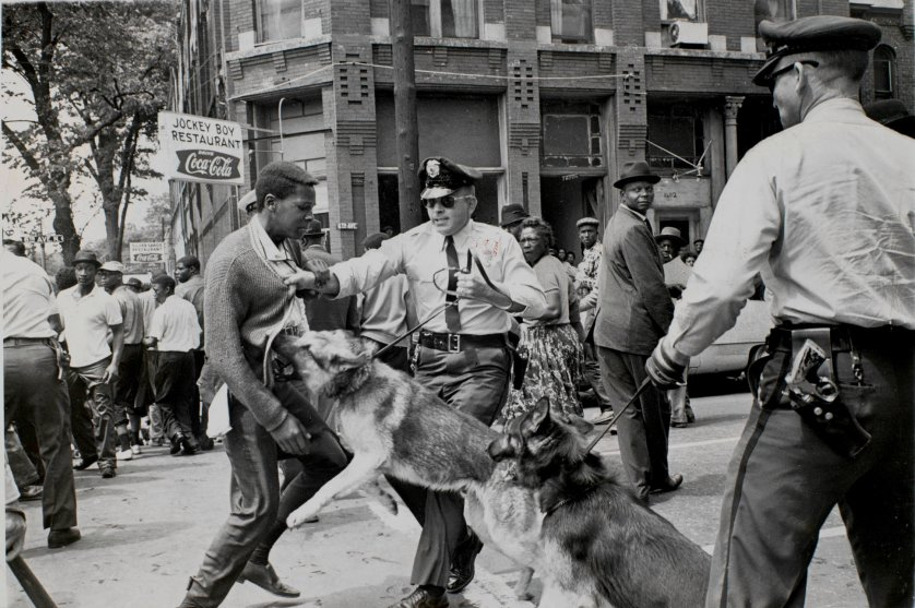 Police dog attack, Birmingham Alabama in 1963 by Bill Hudson.